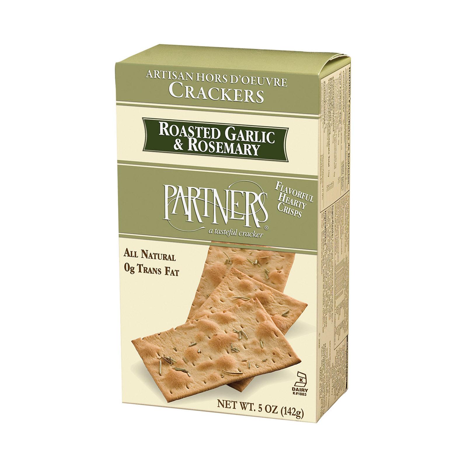 Partners Wise Crackers - Roasted Garlic Rosemary - Case of 6 - 5 oz.