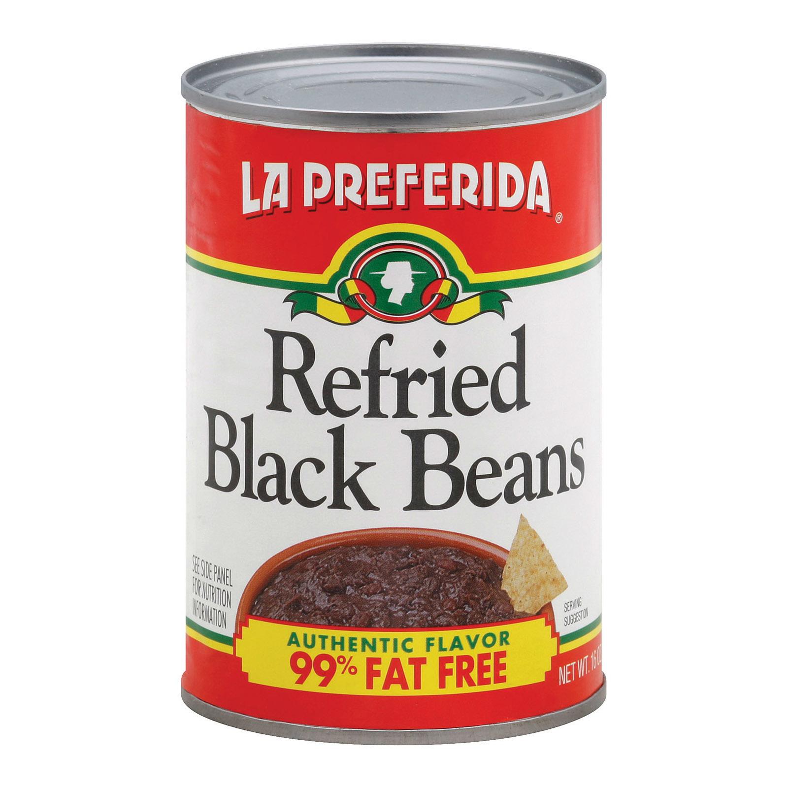 La Preferida Refried Beans - Black - Fat Free - Case of 12 - 16 oz