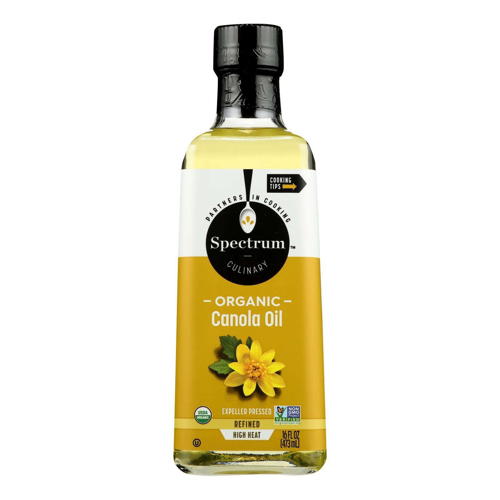 Spectrum Naturals Organic Refined Canola Oil - Case of 12 - 16 Fl oz.