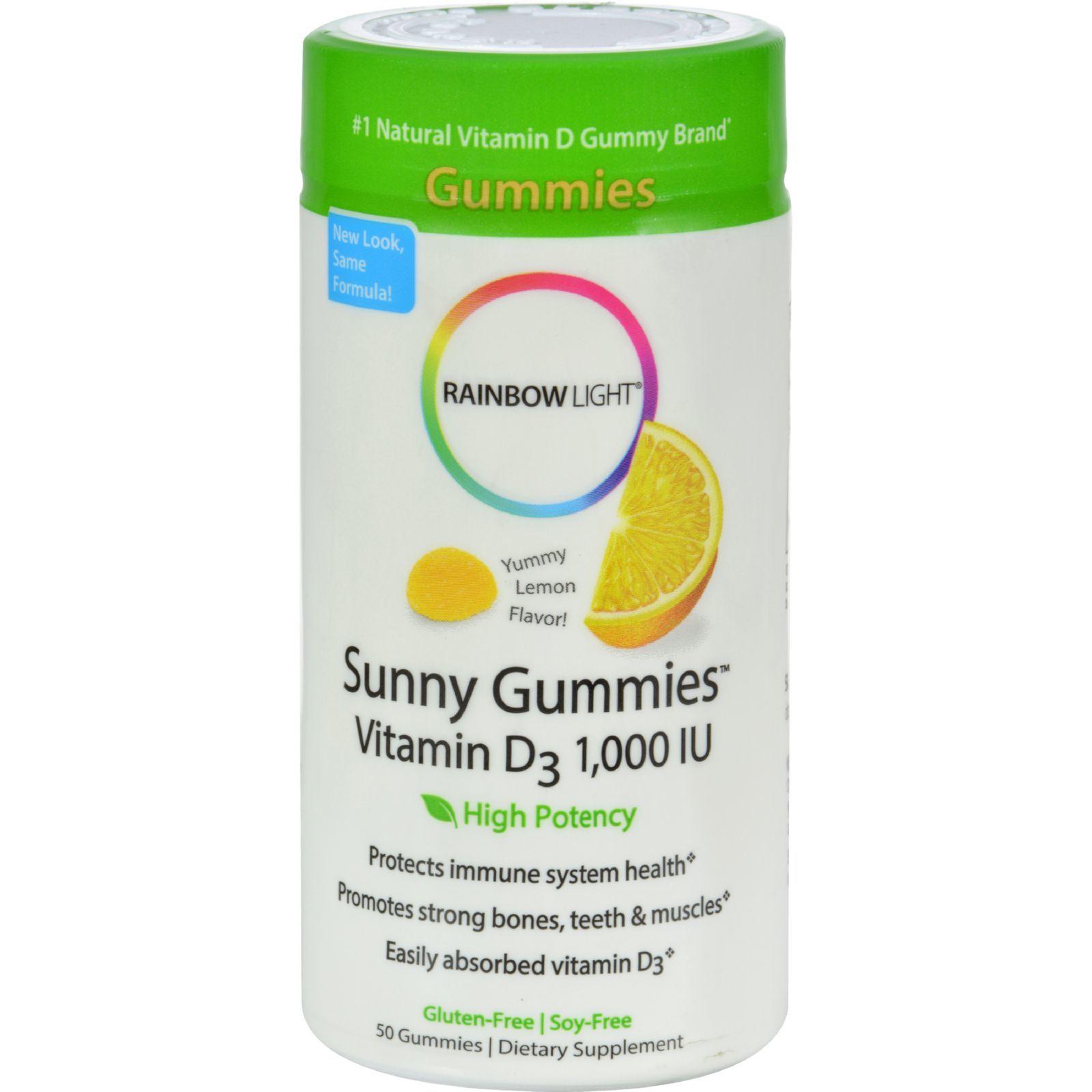 Rainbow Light Vitamin D Sunny Gummies Sour Lemon - 1000 IU - 50 Gummies