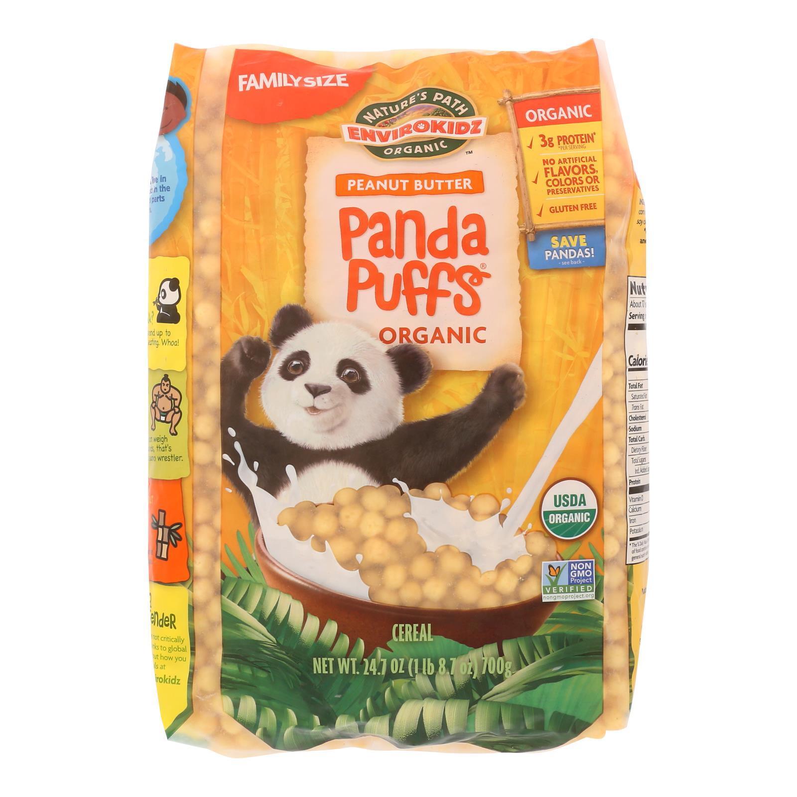Envirokidz Panda Puffs Cereal - Peanut Butter - Case of 6 - 24.7 oz.