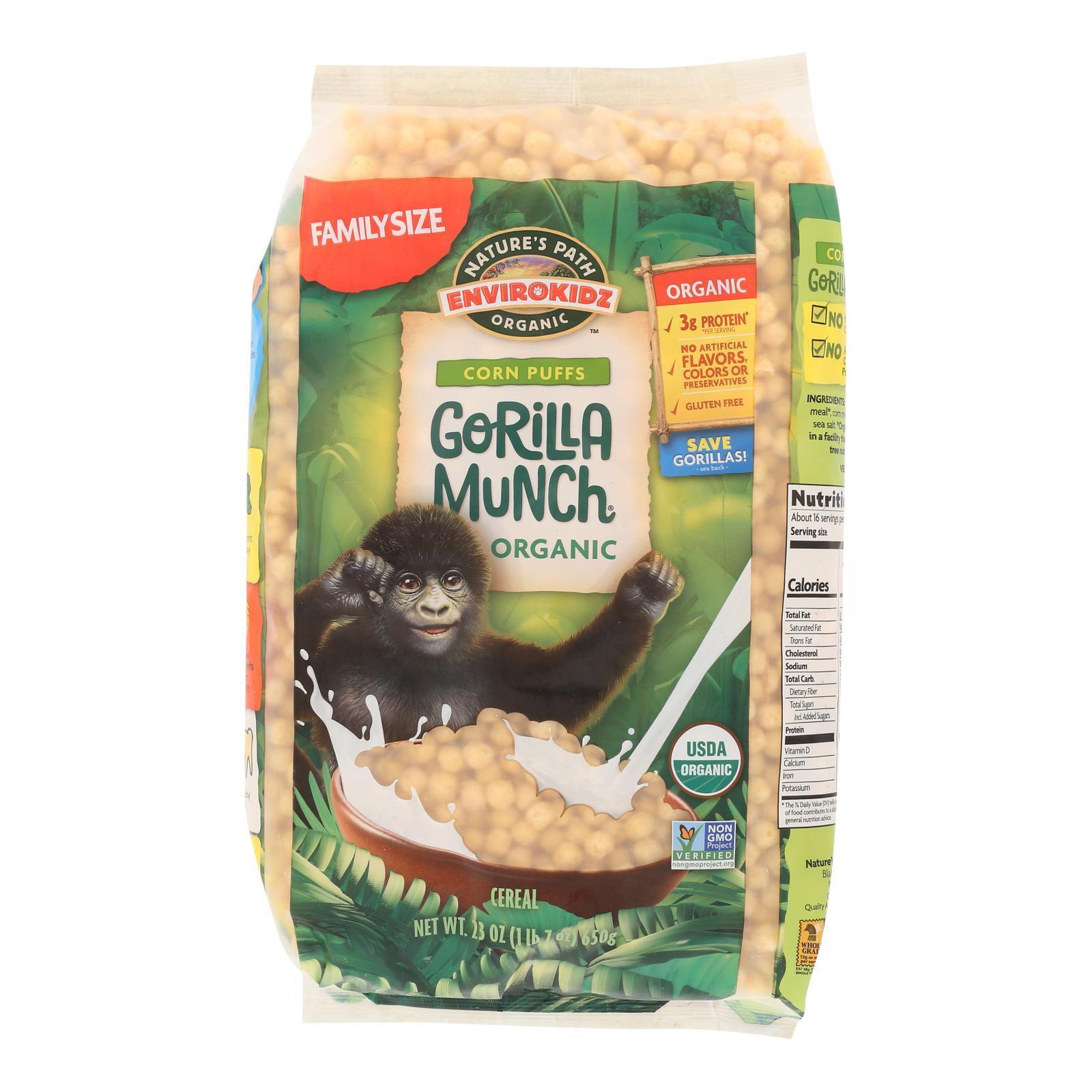 Envirokidz Corn Puff - Gorilla Munch - Case of 6 - 23 oz.