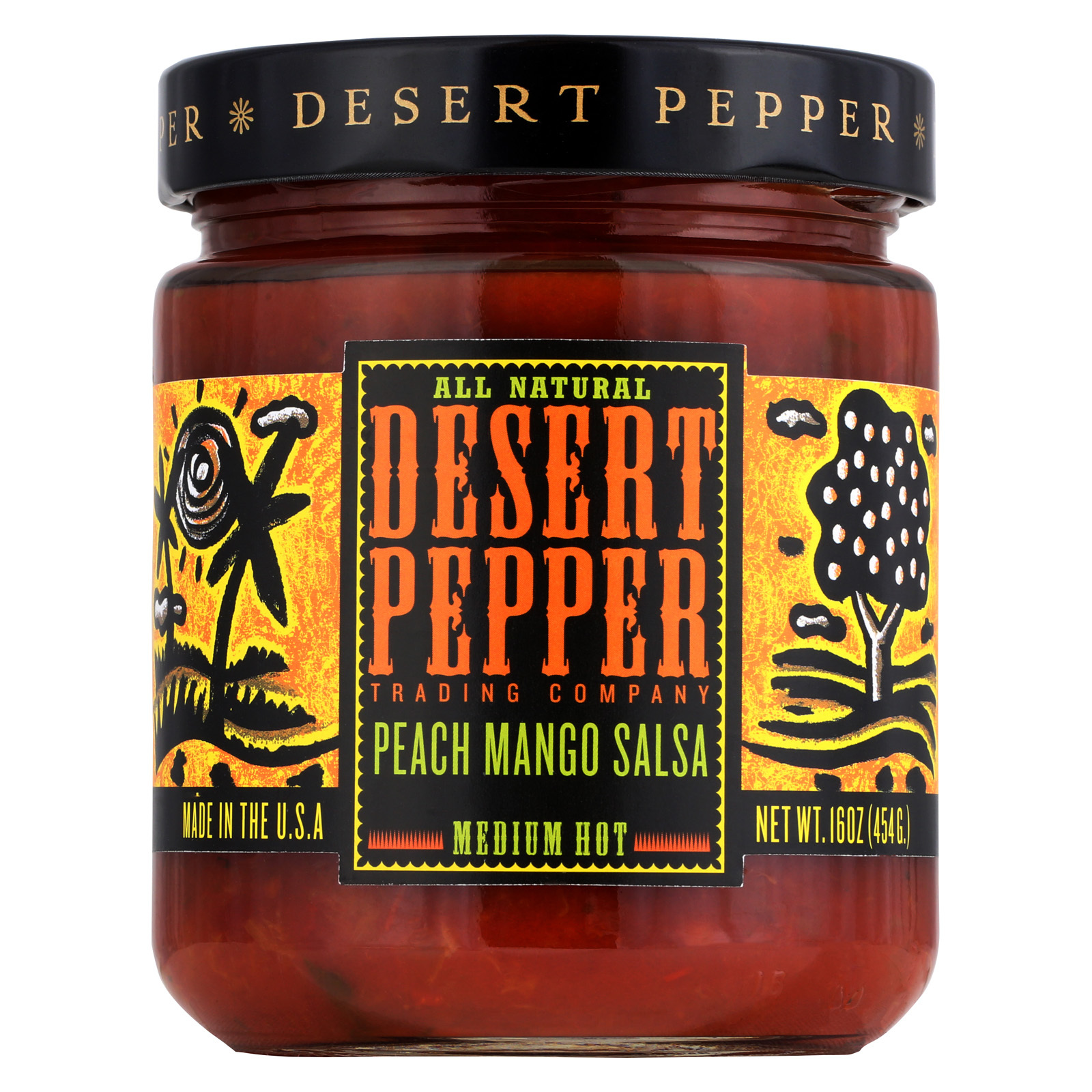 Desert Pepper Trading Medium Hot Peach Mango Salsa - Case of 6 - 16 oz.