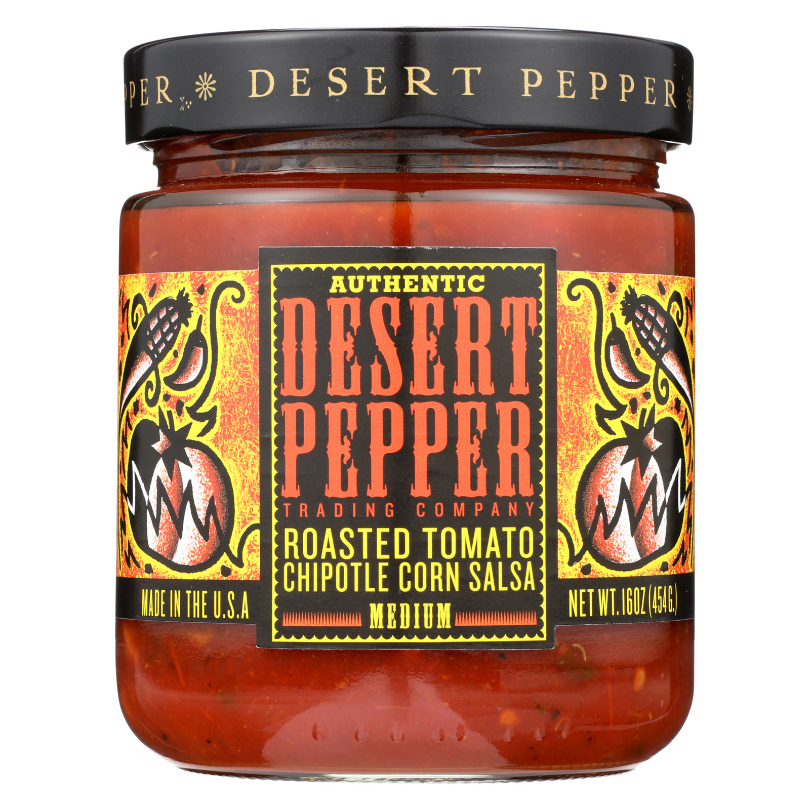 Desert Pepper Trading Medium Hot Roasted Tomato Chipotle Corn Salsa - Case of 6 - 16 oz.