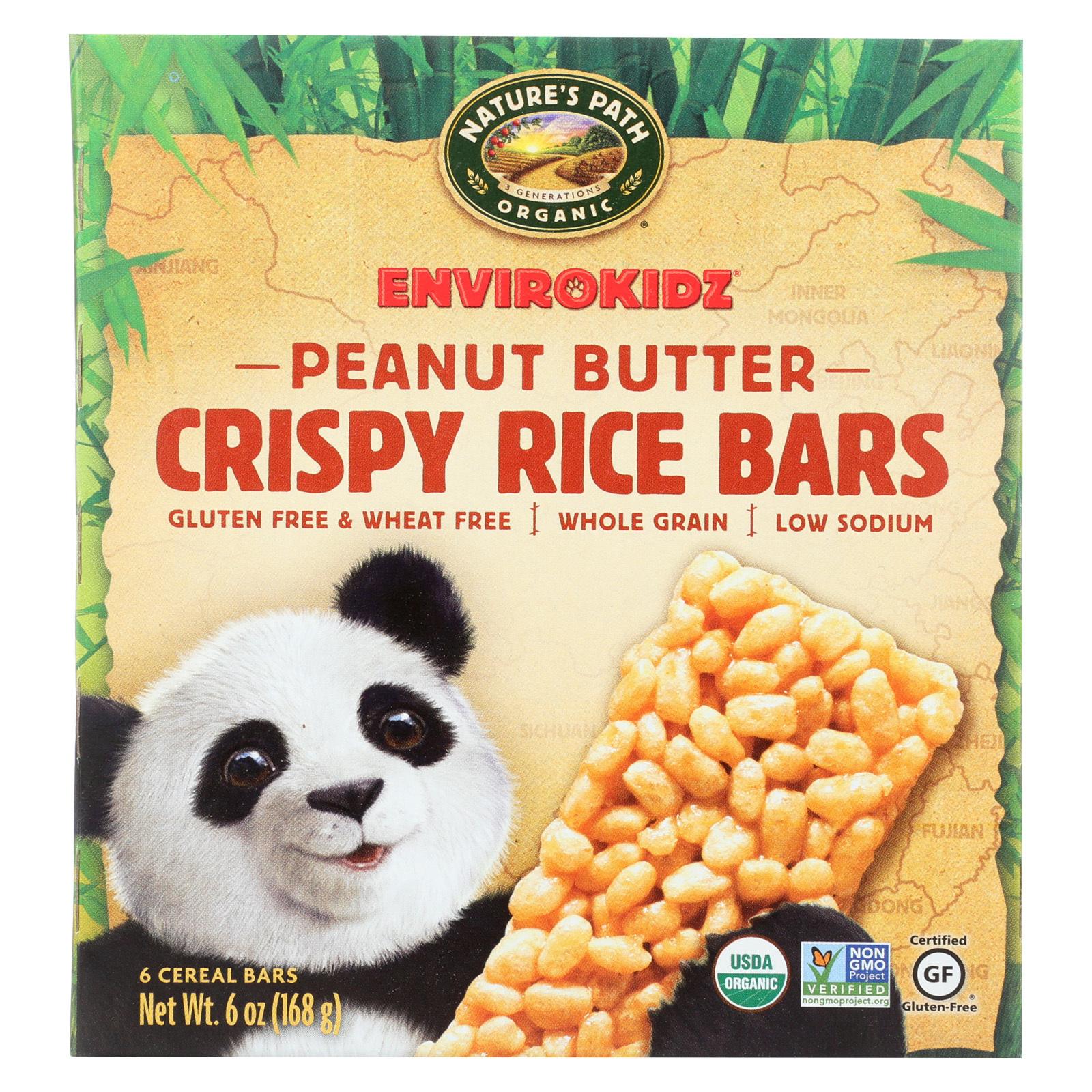 Envirokidz Crispy Rice Bars - Peanut Butter - Case of 6 - 6 oz.