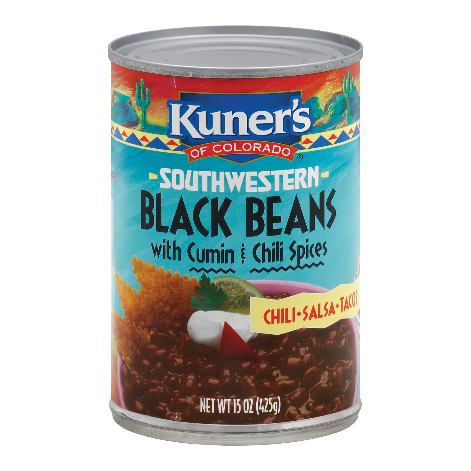 Kuner Black Beans - Cumin and Chili Spices - 15 oz.