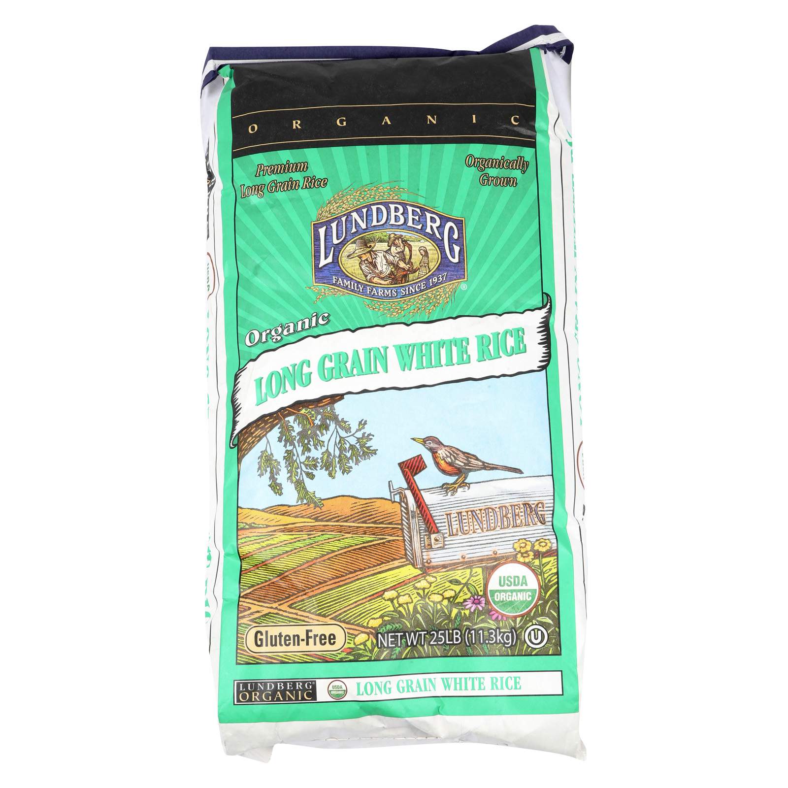 Lundberg Family Farms Organic White Long Grain Rice - Case of 25 - 1 lb.