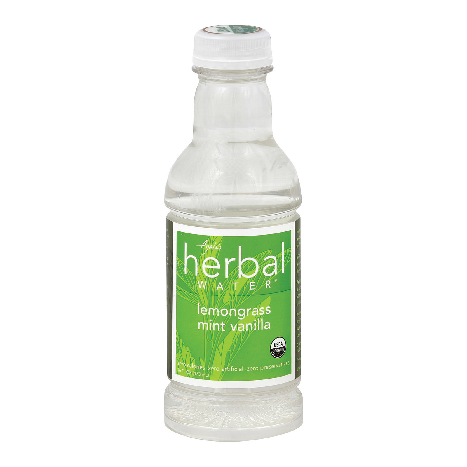 Ayala's Herbal Water - Still Lemongrass Mint Vanilla - Case of 12 - 16 Fl oz.