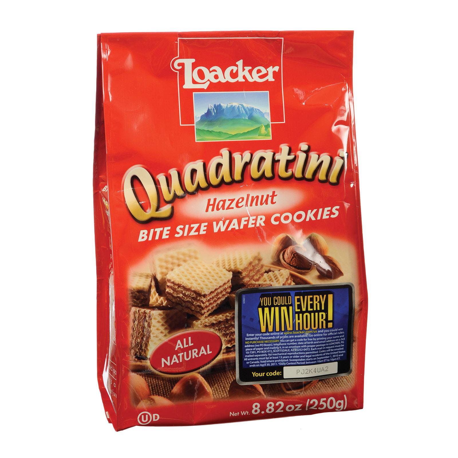 Loacker Quadratini Bite Size Wafer Cookies - Hazelnut - Case of 8 - 8.82 oz.