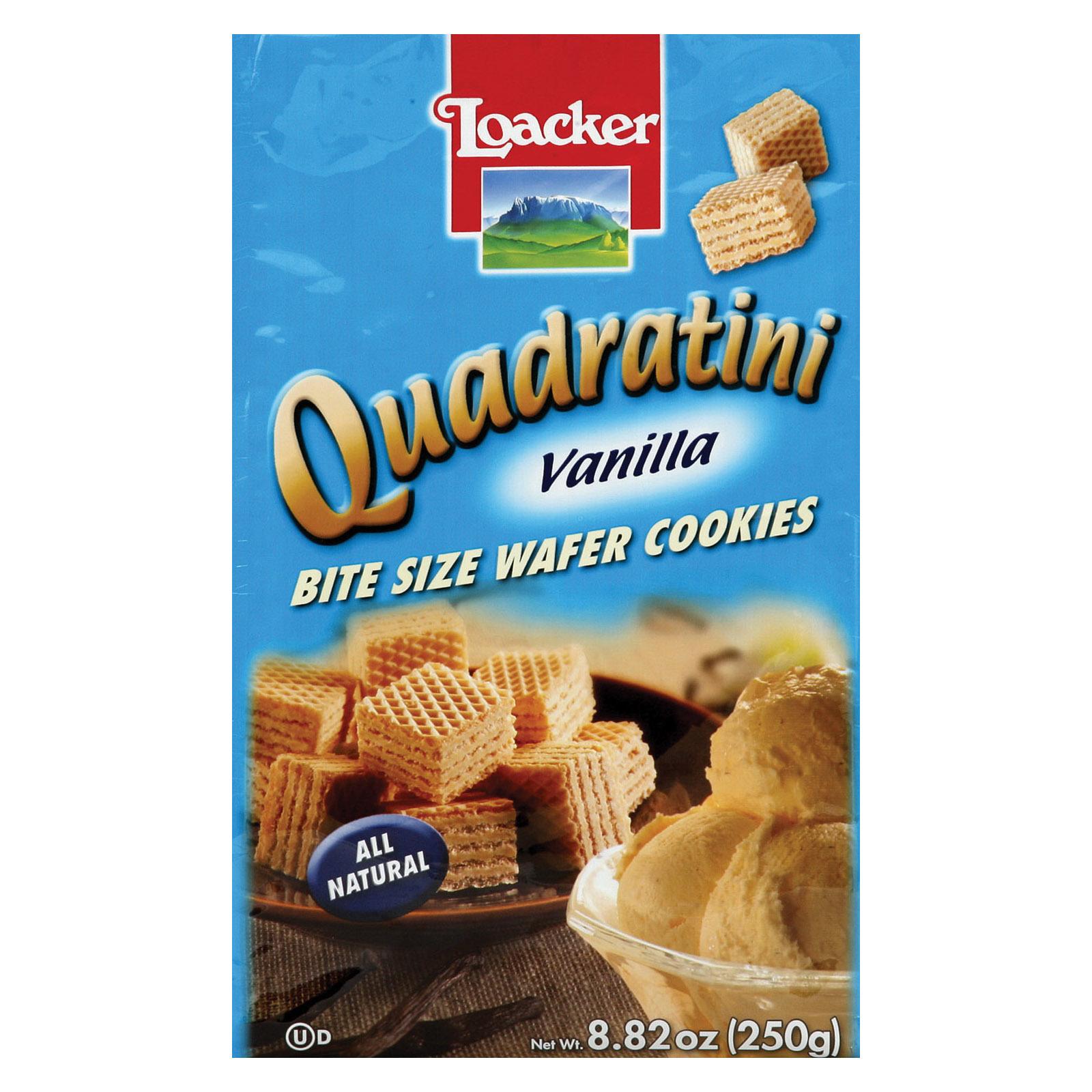 Loacker Quadratini Vanilla Bite Size Wafer Cookies - Case of 8 - 8.82 oz.