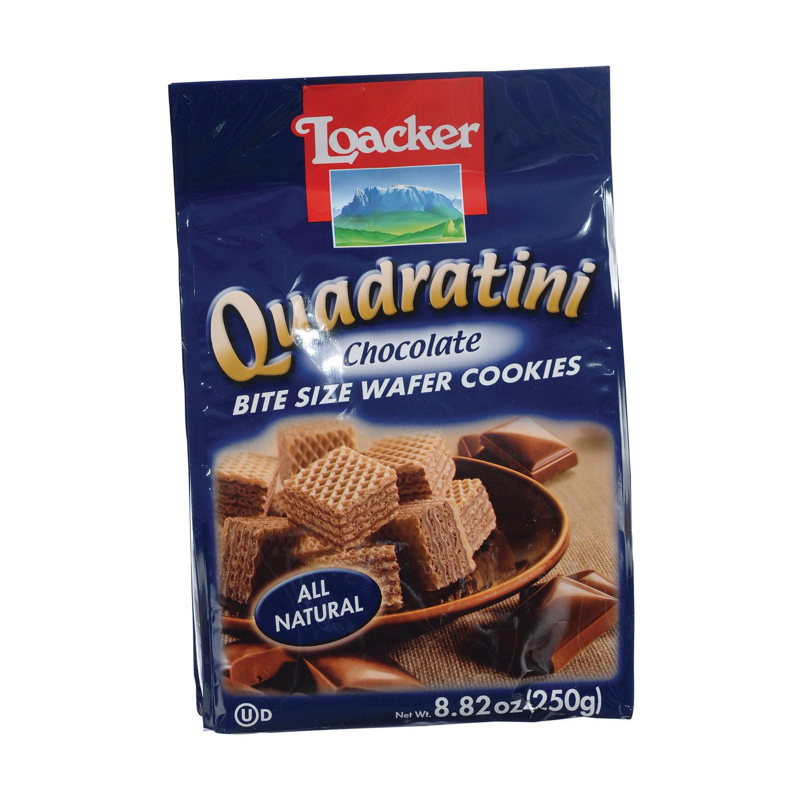 Loacker Quadratini Quadratini Chocolate Bite Size Wafer Cookies - Case of 8 - 8.82 oz.