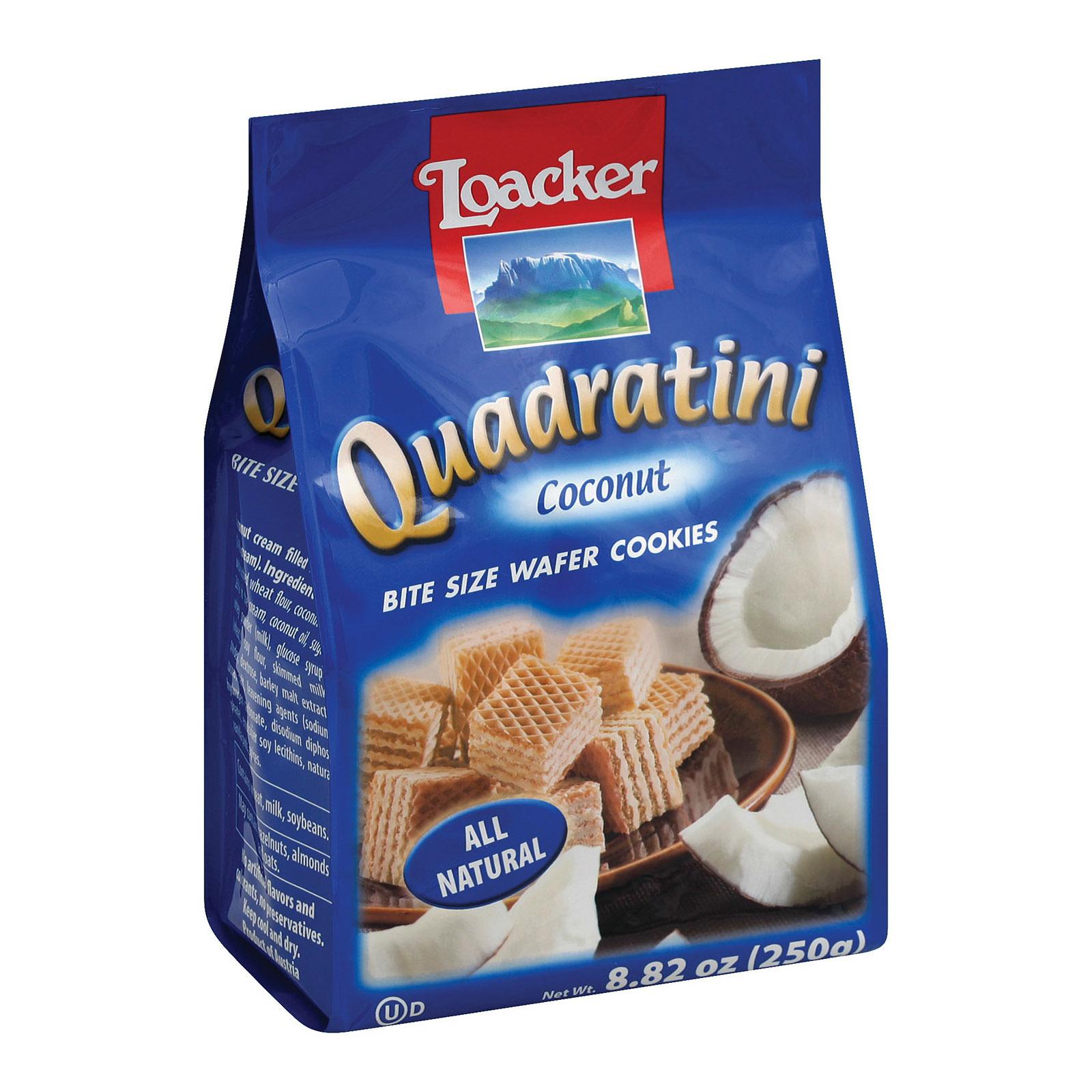Loacker Quadratini Coconut Bite Size Wafer Cookies - Case of 8 - 8.82 oz.