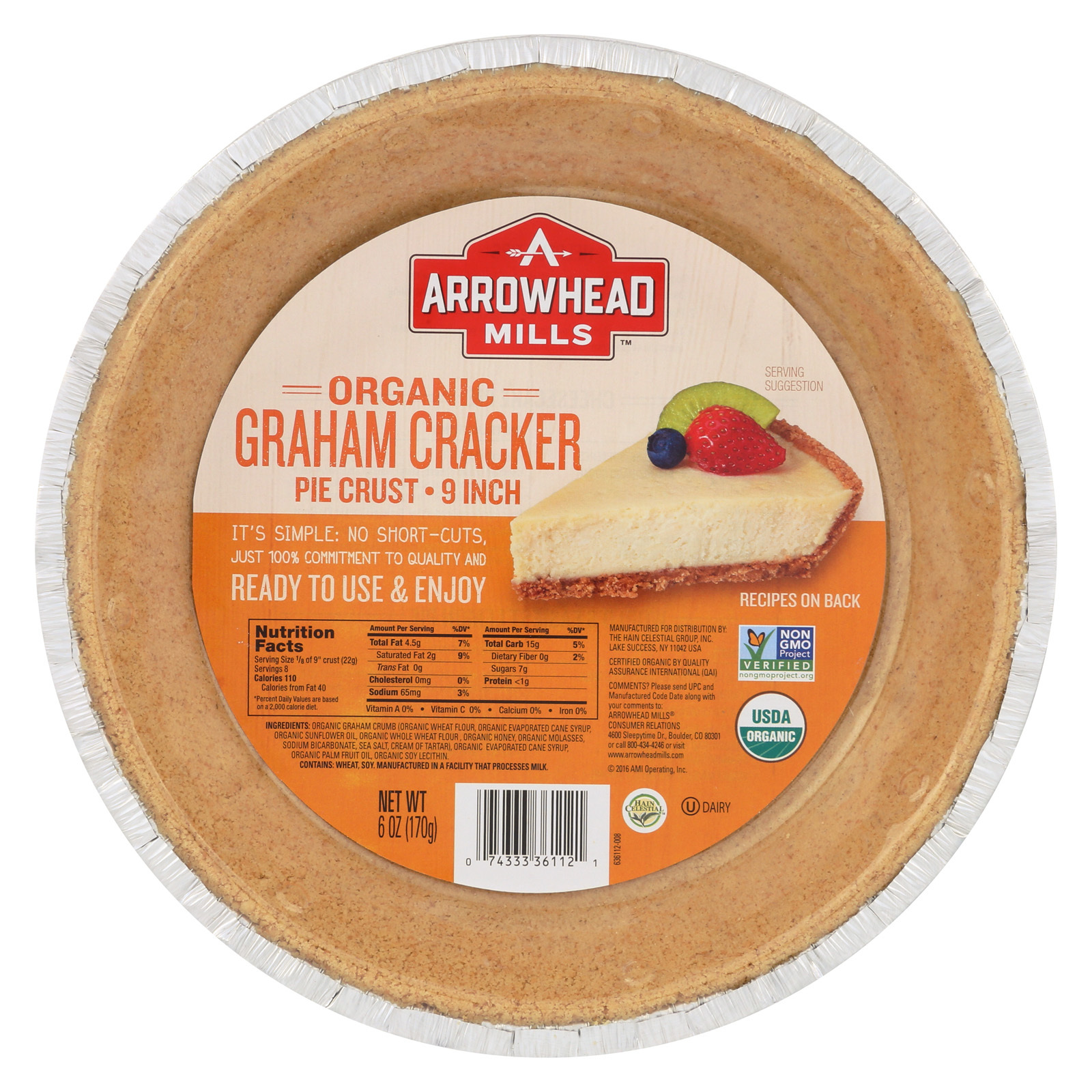Arrowhead Mills Organic Graham Cracker Pie Crust - Case of 12 - 6 oz.