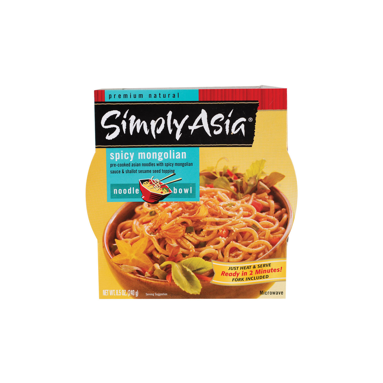 Simply Asia Spicy Mongolian Noodle Bowl - Case of 6 - 8.5 oz.