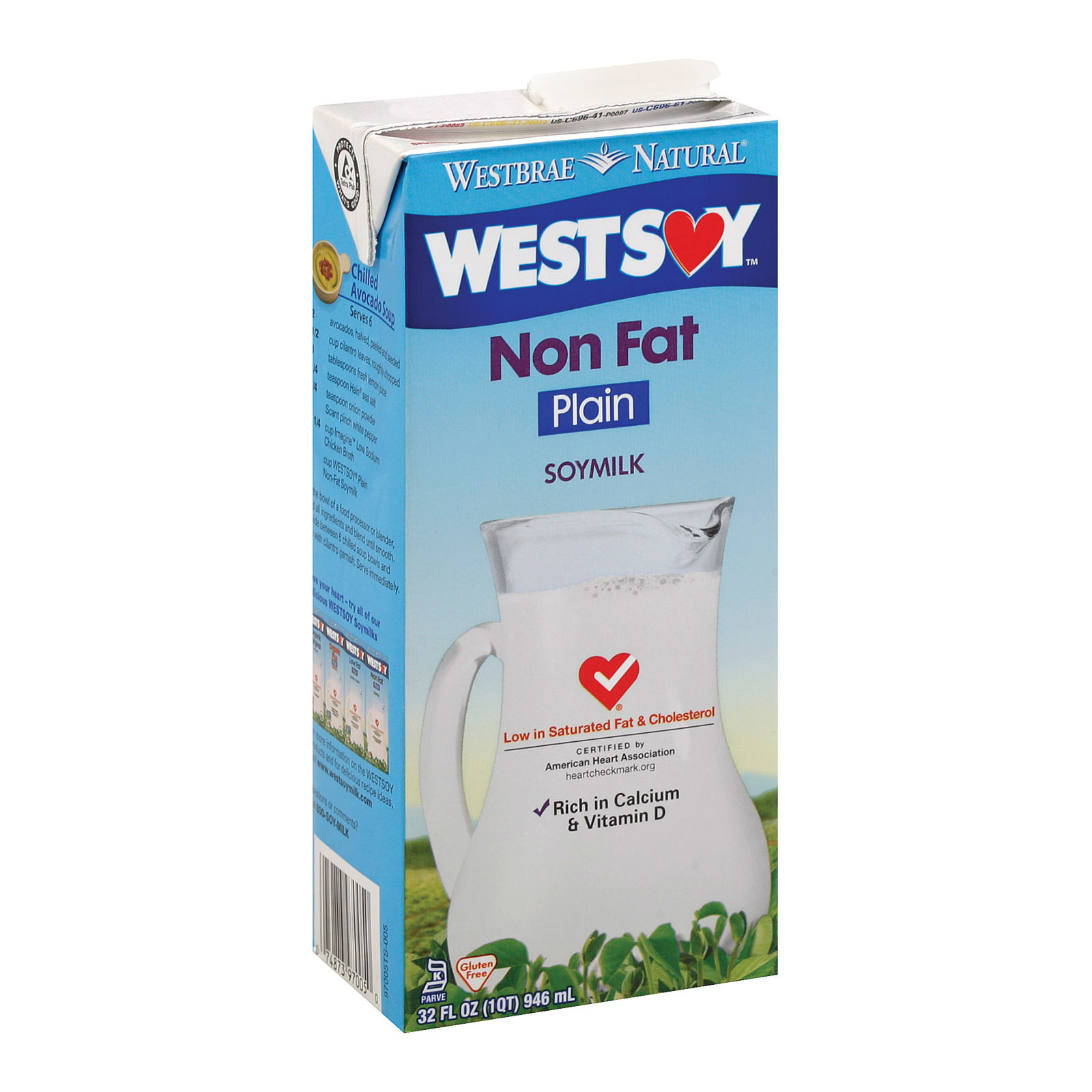 Westsoy Non Fat Soymilk - Plain - Case of 12 - 32 Fl oz.
