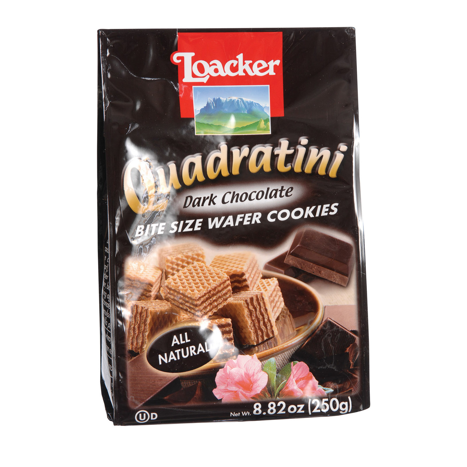 Loacker Quadratini Dark Chocolate Quadratini Bite Size Wafer Cookies - Case of 8 - 8.82 oz.