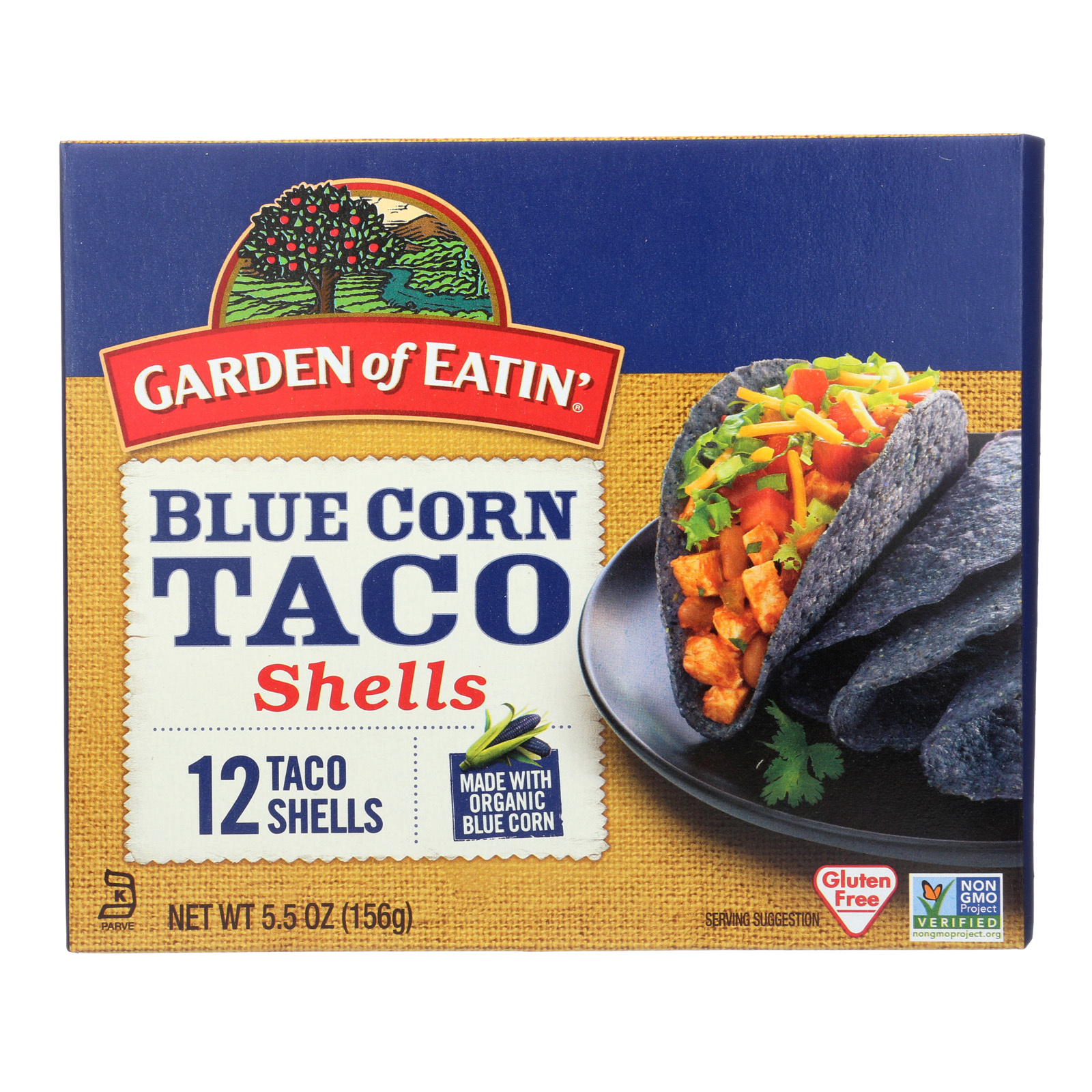 Garden of Eatin' Blue Corn Taco Shells - Blue Corn - Case of 12 - 5.5 oz.