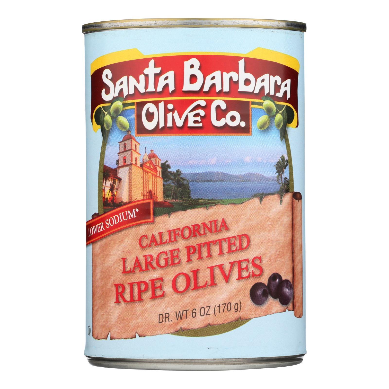 Santa Barbara Pitted Olives - Large Black - Case of 12 - 5.75 oz.