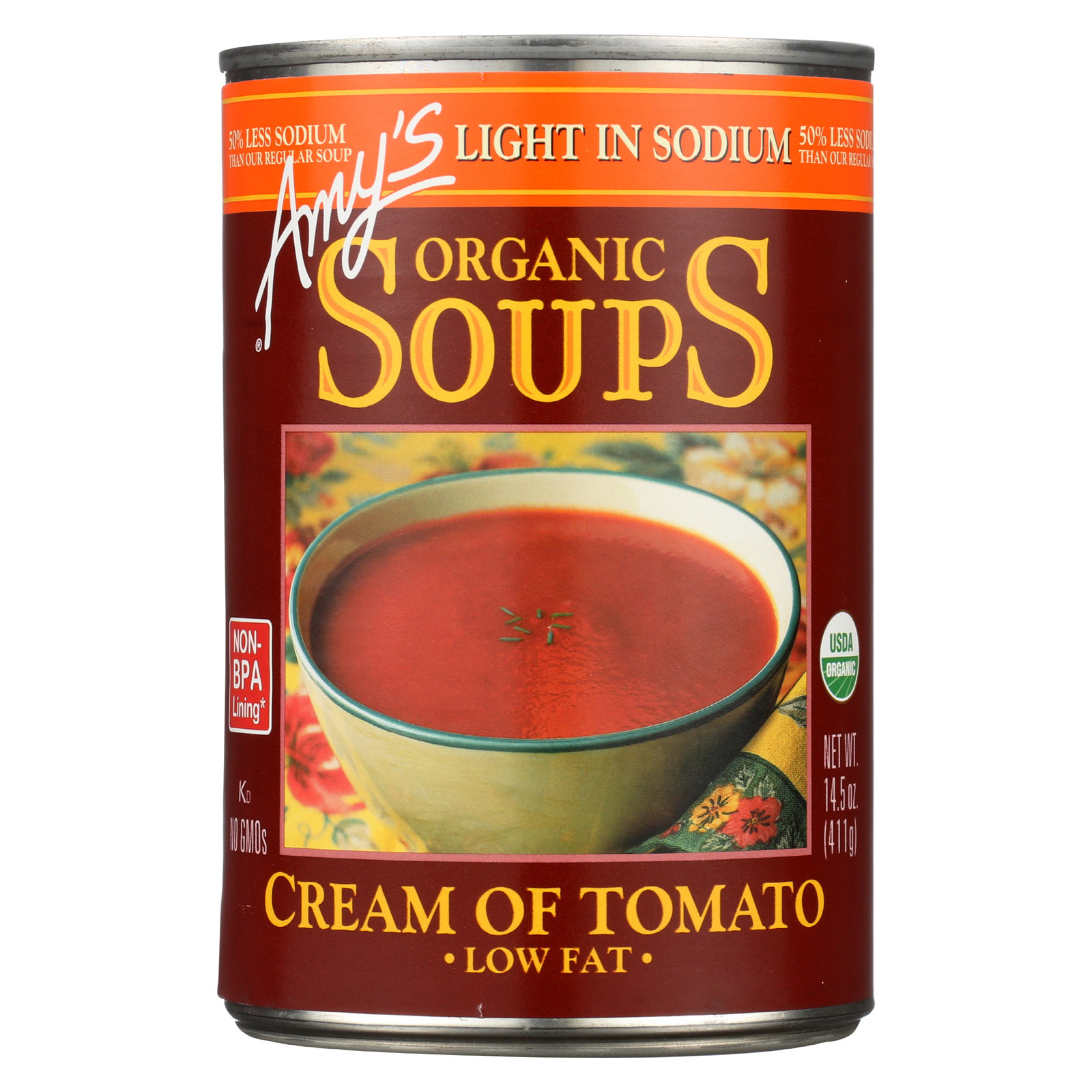 Amy's Organic Low Sodium Cream of Tomato Soup - Case of 12 - 14.5 oz
