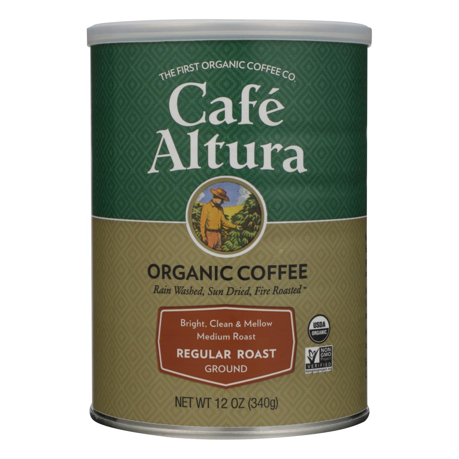 Cafe Altura Organic Ground Coffee - Regular Roast - Case of 6 - 12 oz.