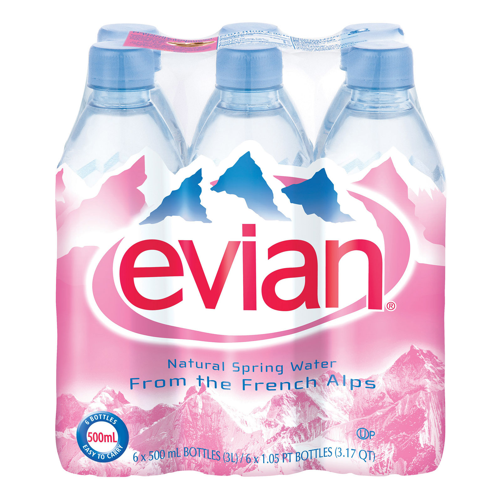 Evians Spring Water Spring Water Plastic - Water - Case of 24 - 500 ml