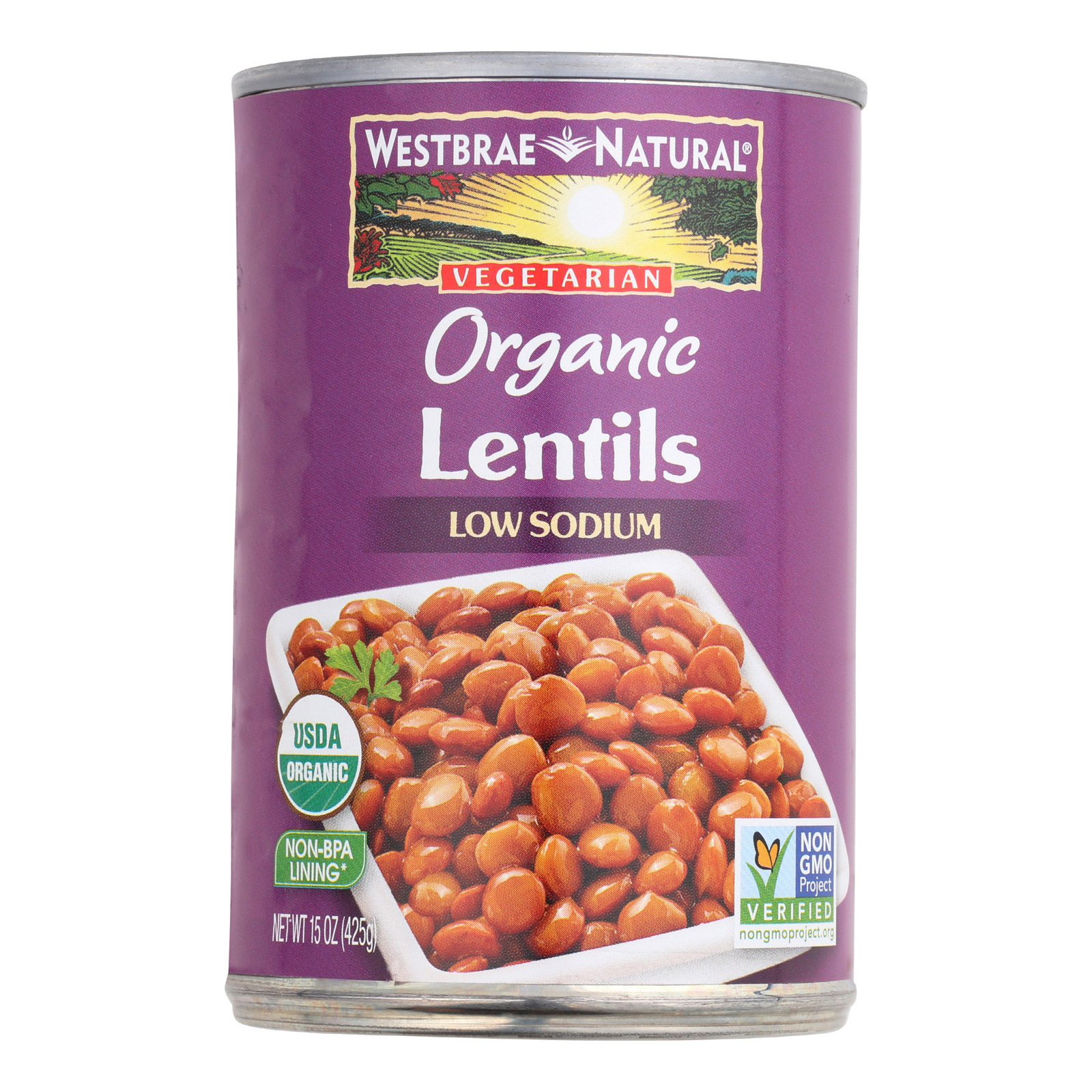 Westbrae Foods Organic Lentils Beans - Case of 12 - 15 oz.