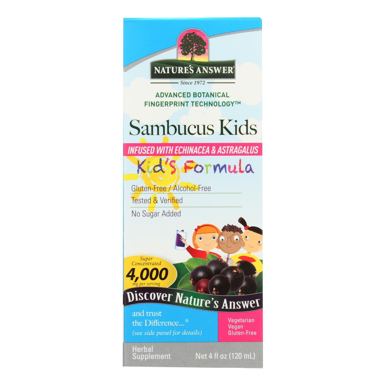 Nature's Answer Sambucus nigra Black Elder Berry Extract Kids Formula - 4 fl oz
