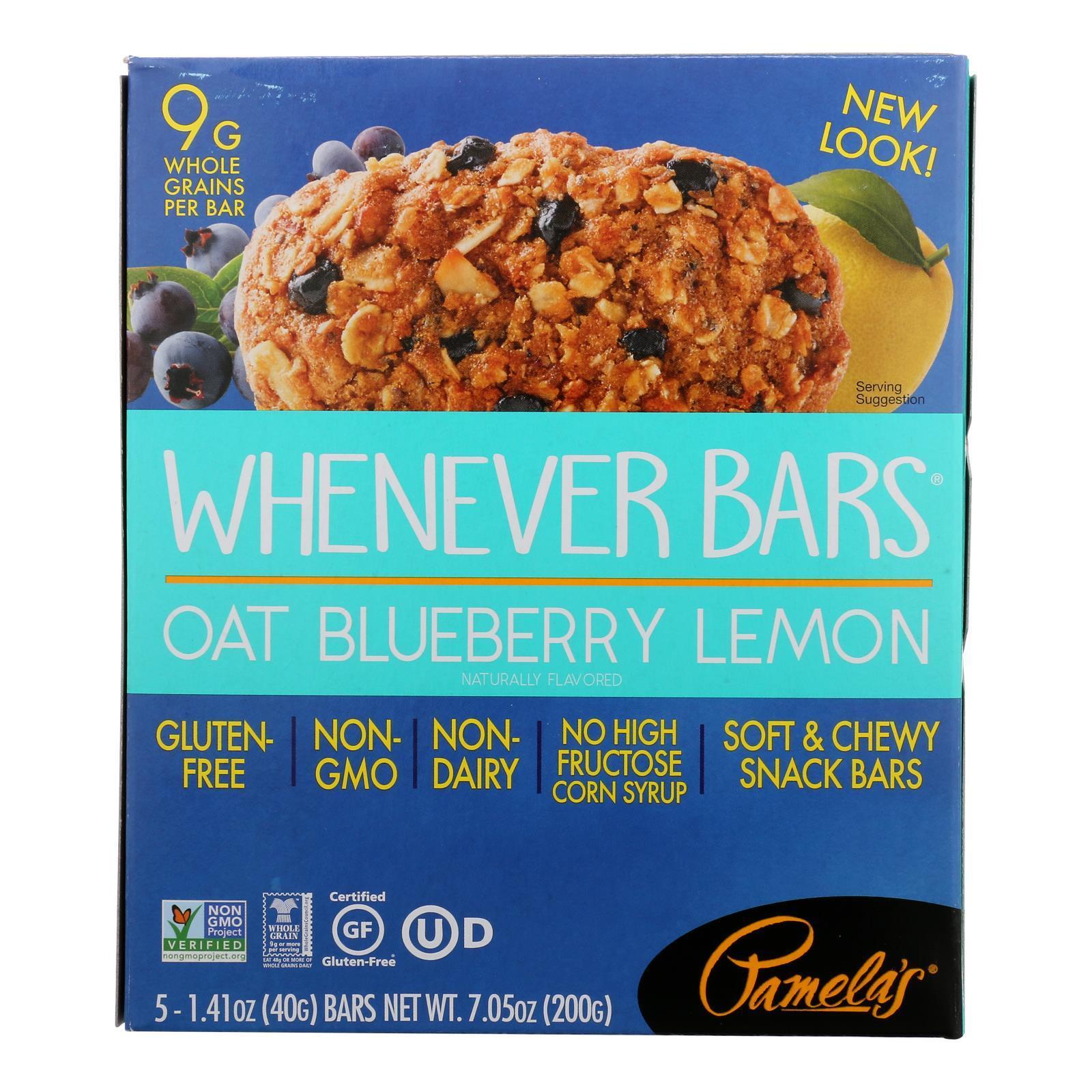 Pamela's Products Oat Whenever Bars - Blueberry Lemon - Case of 6 - 1.41 oz.