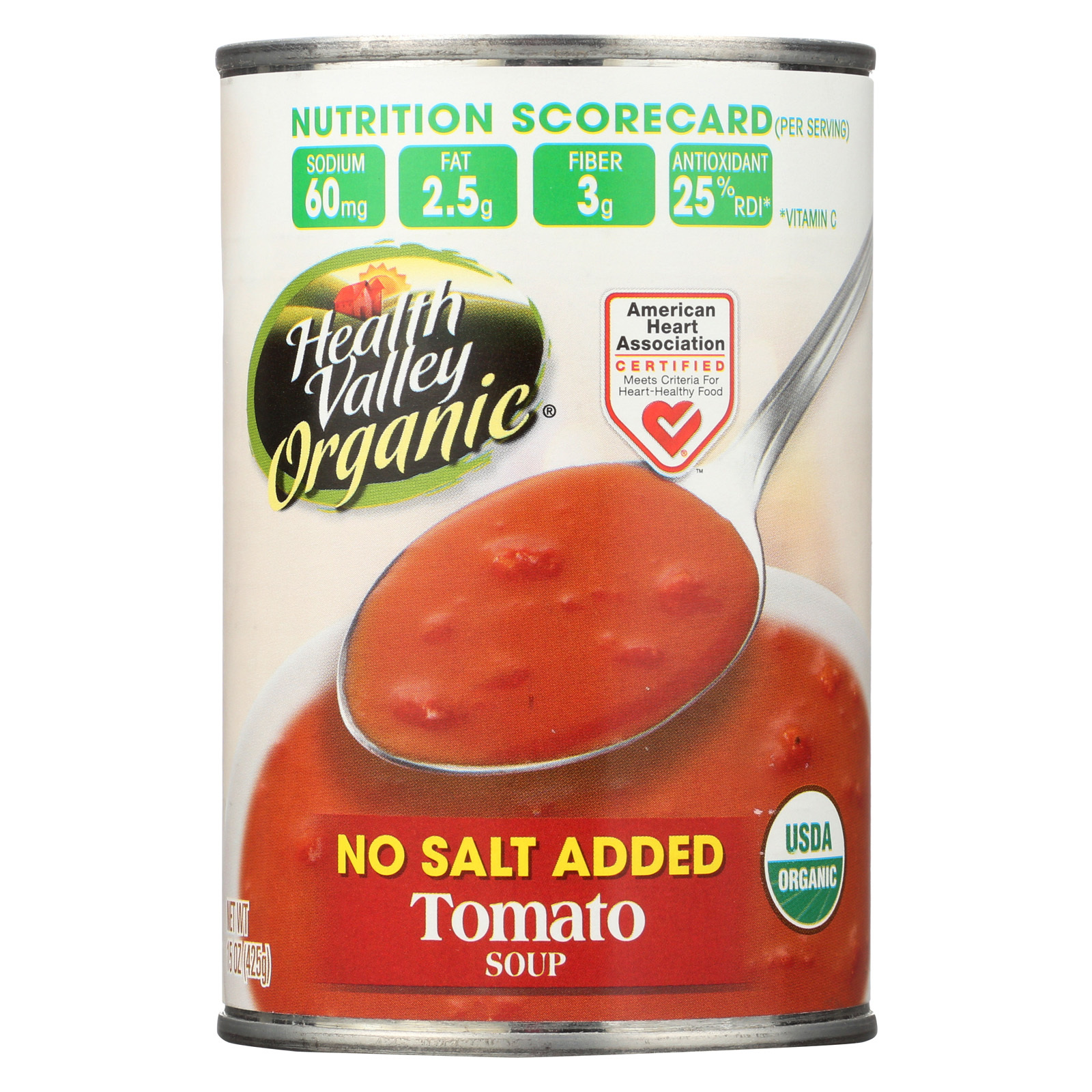 Health Valley Organic Soup - Tomato, No Salt Added - Case of 12 - 15 oz.