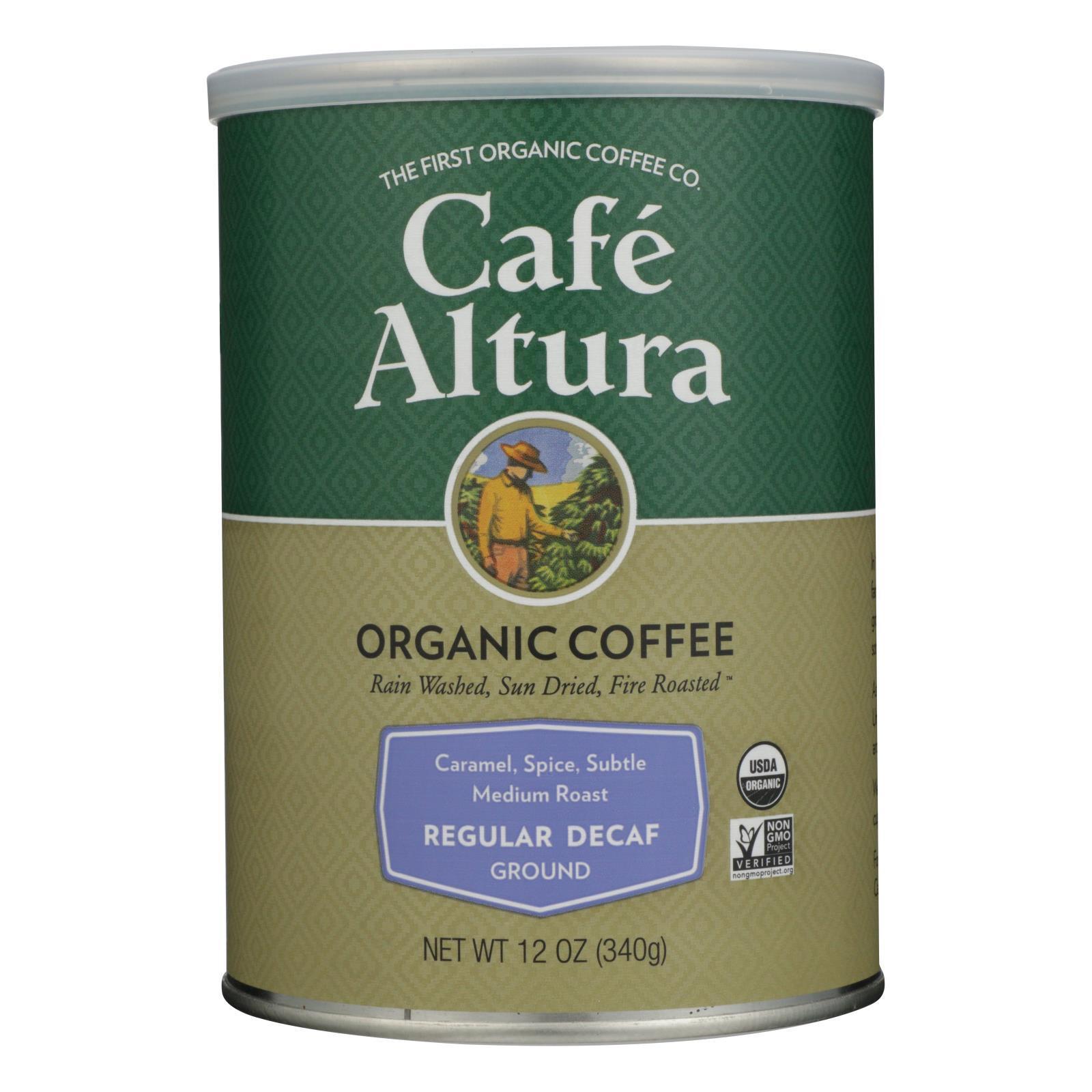 Cafe Altura Organic Regular Roast Ground Coffee - Decaf - Case of 6 - 12 oz