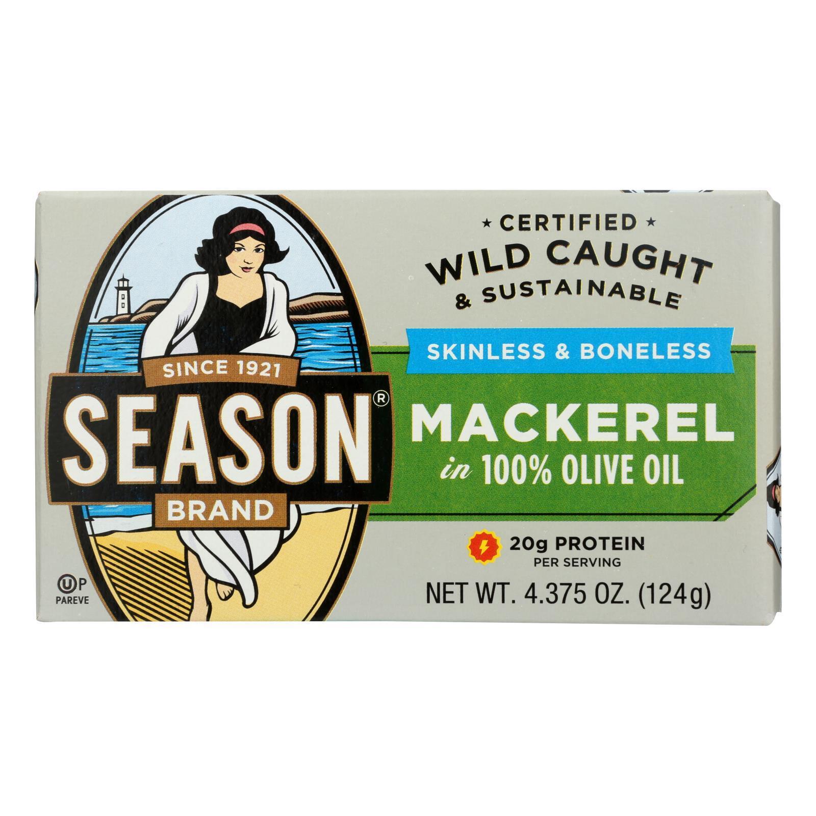 Season Brand Mackerels - Fillets - in Olive Oil - 4.375 oz - case of 12