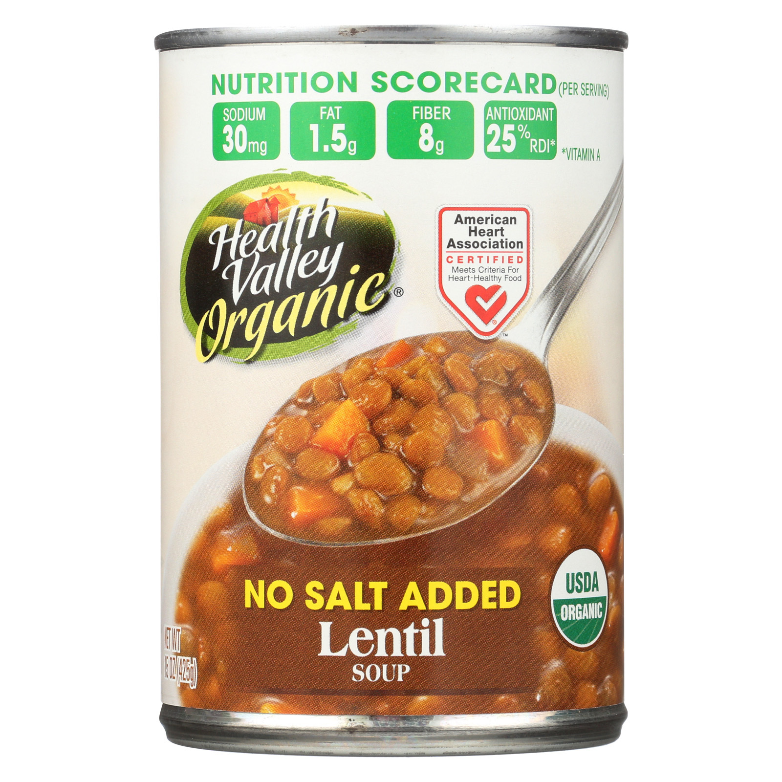 Health Valley Organic Soup - Lentil, No Salt Added - Case of 12 - 15 oz.