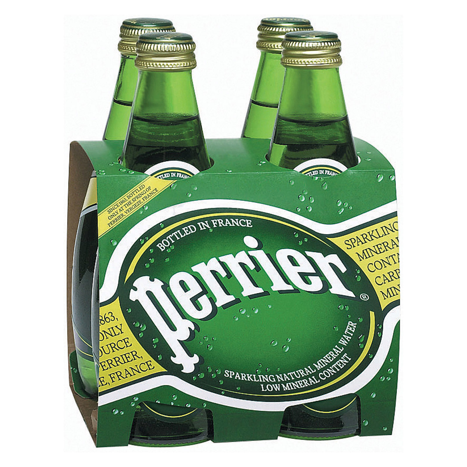 Perrier Sparkling Natural Mineral Water - Plain - Case of 6 - 11 Fl oz.