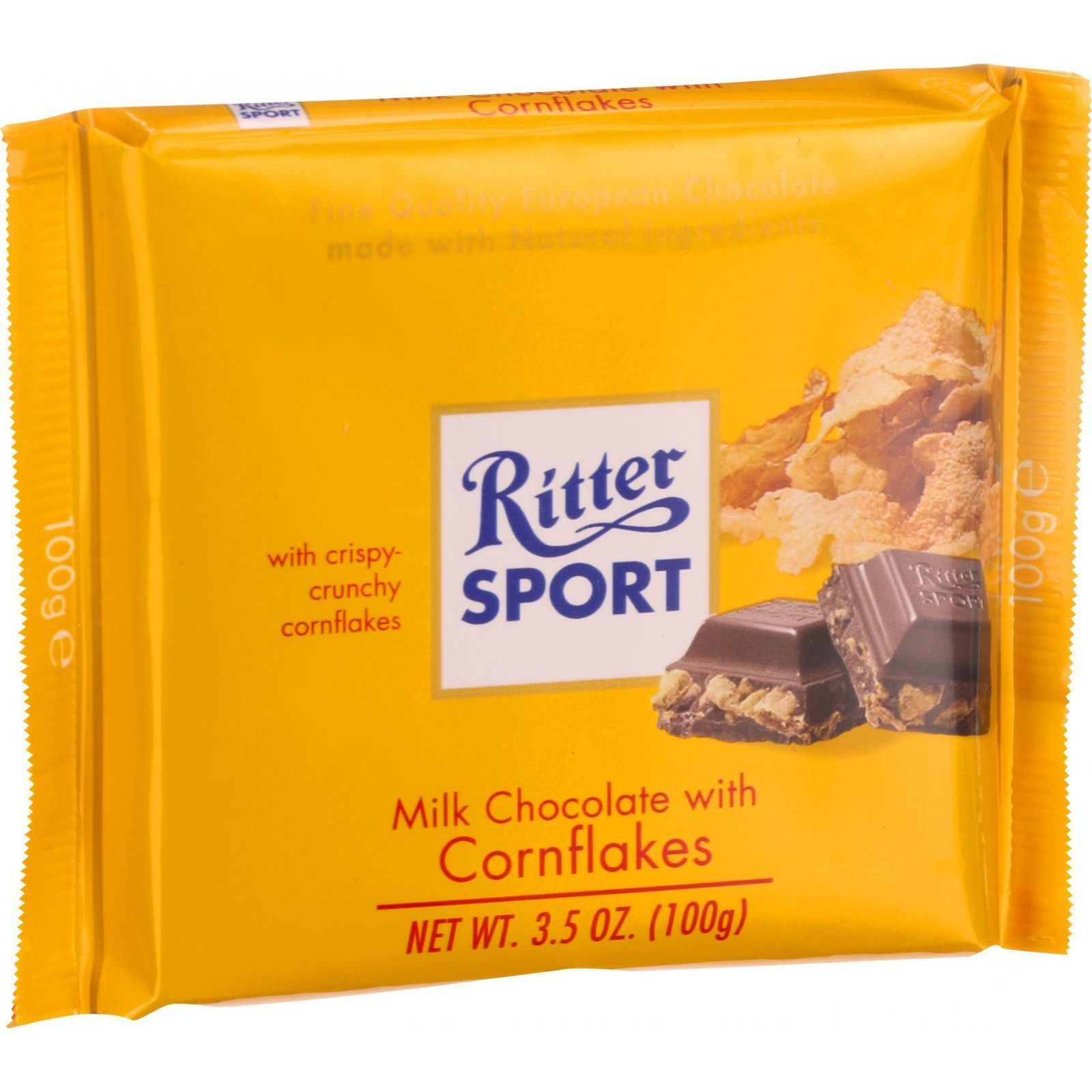Ritter Sport Chocolate Bar - Milk Chocolate - Corn Flakes - 3.5 oz Bars - Case of 10