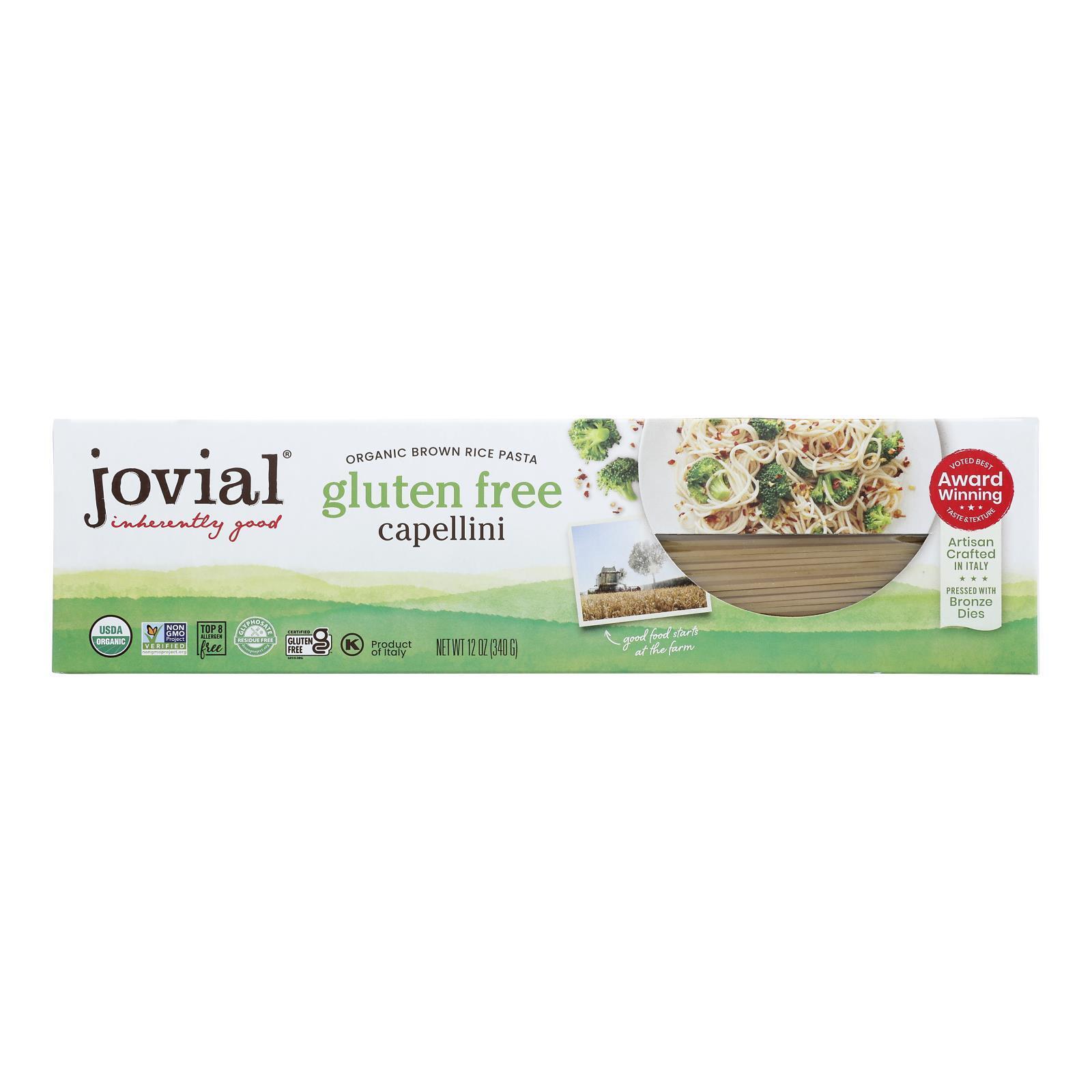 Jovial Gluten Free Brown Rice Pasta - Capellini - Case of 12 - 12 oz.