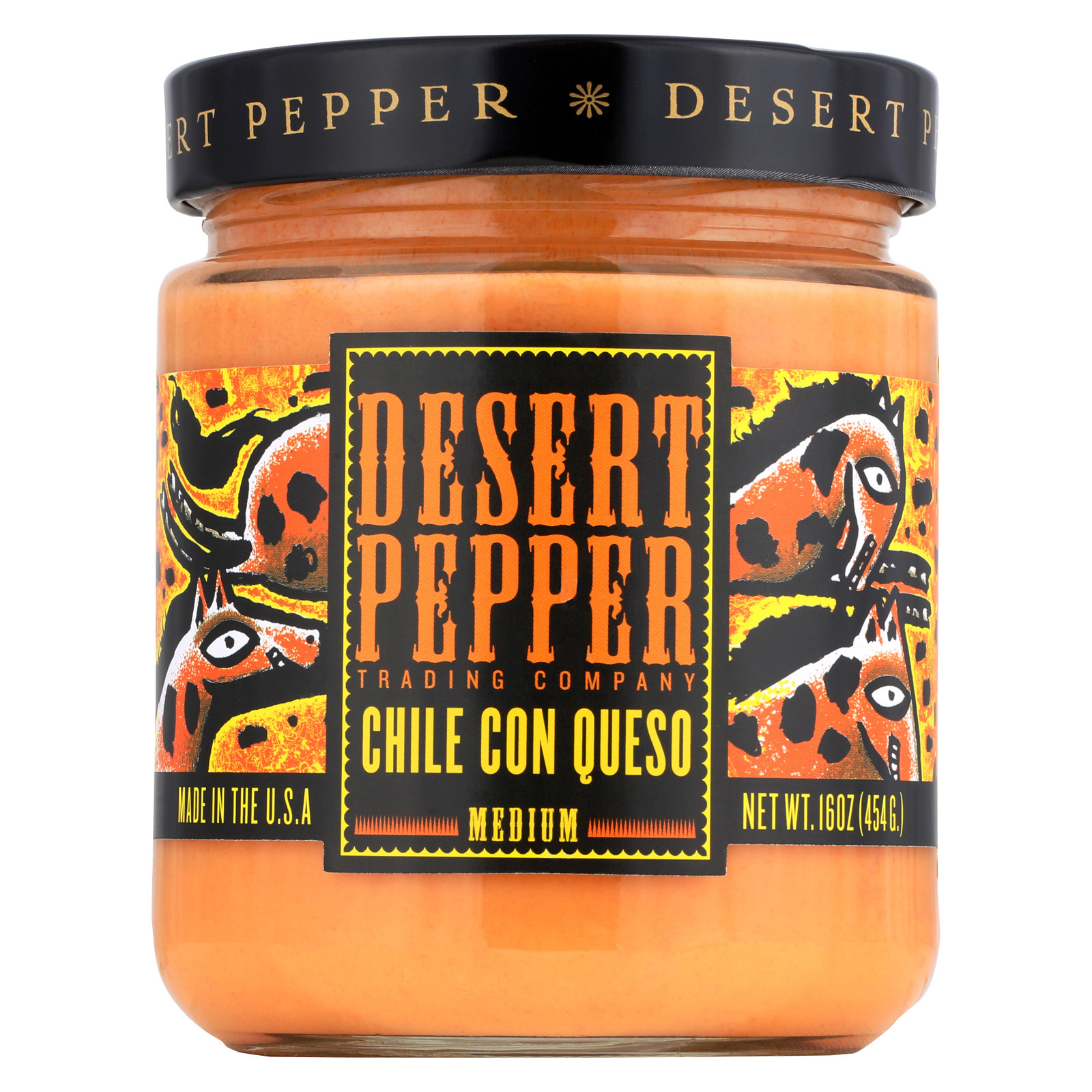 Desert Pepper Trading Medium Chile Con Queso Dip - Case of 6 - 16 oz.