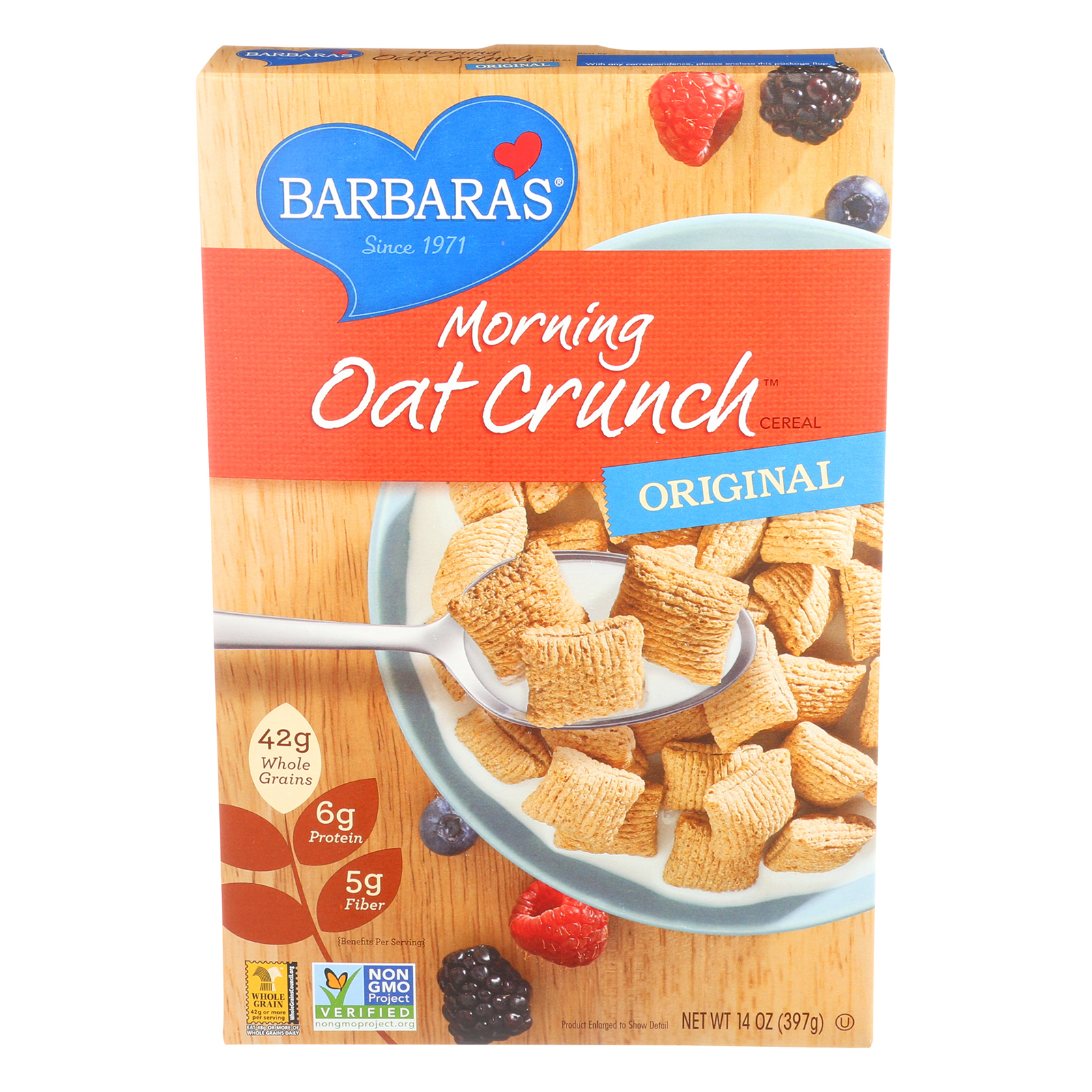 Barbara's Bakery Morning Oat Crunch Cereal - Original - Case of 12 - 14 oz.