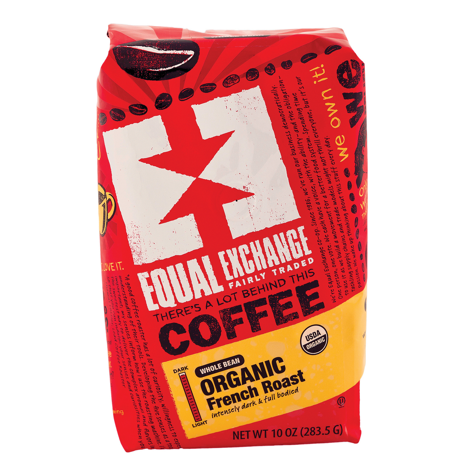 Equal Exchange Organic Whole Bean Coffee - French Roast - Case of 6 - 10 oz.