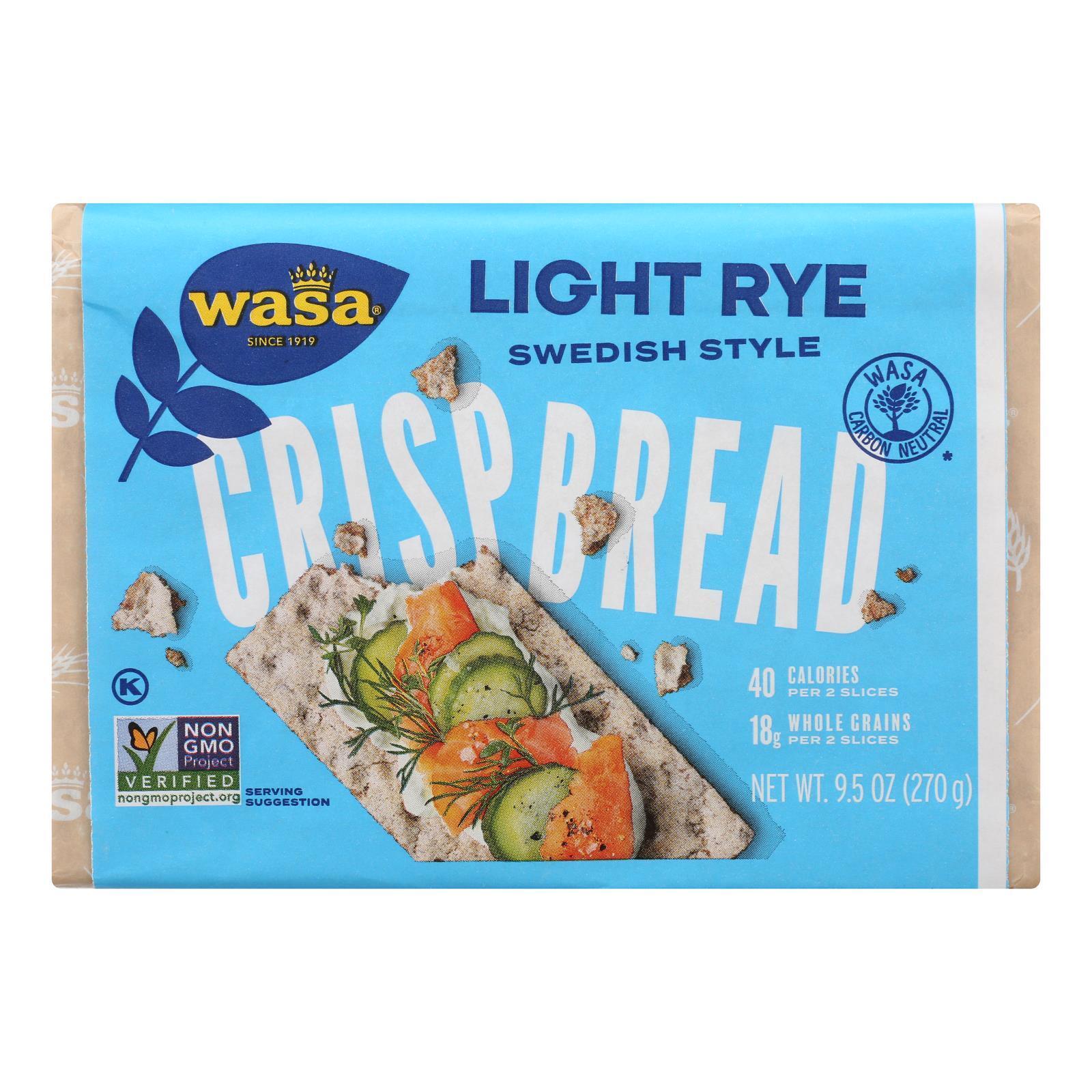 Wasa Crispbread Light Rye - Case of 12 - 9.5 oz.