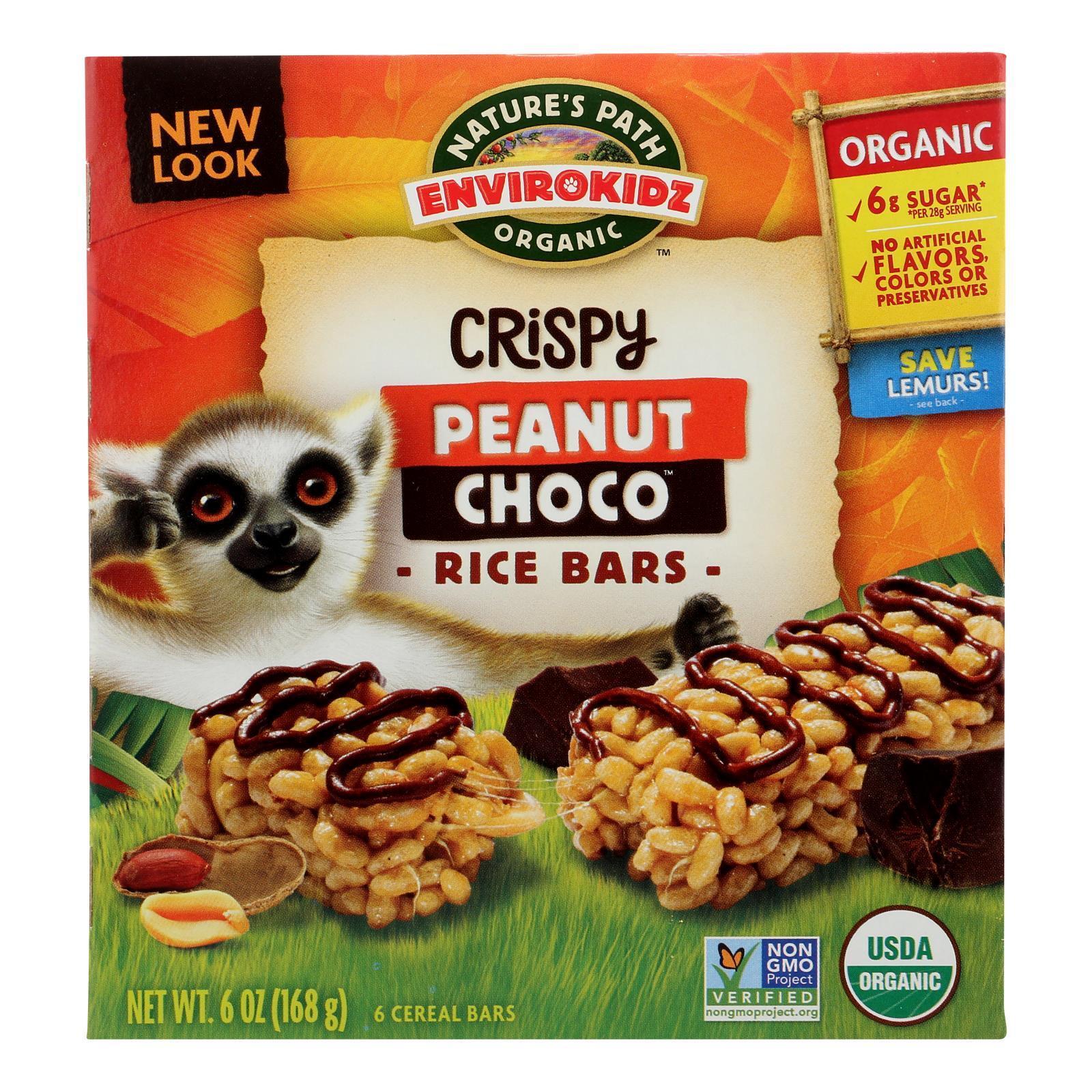 Envirokidz Crispy Rice Bars - Peanut Choco - Case of 6 - 6 oz.