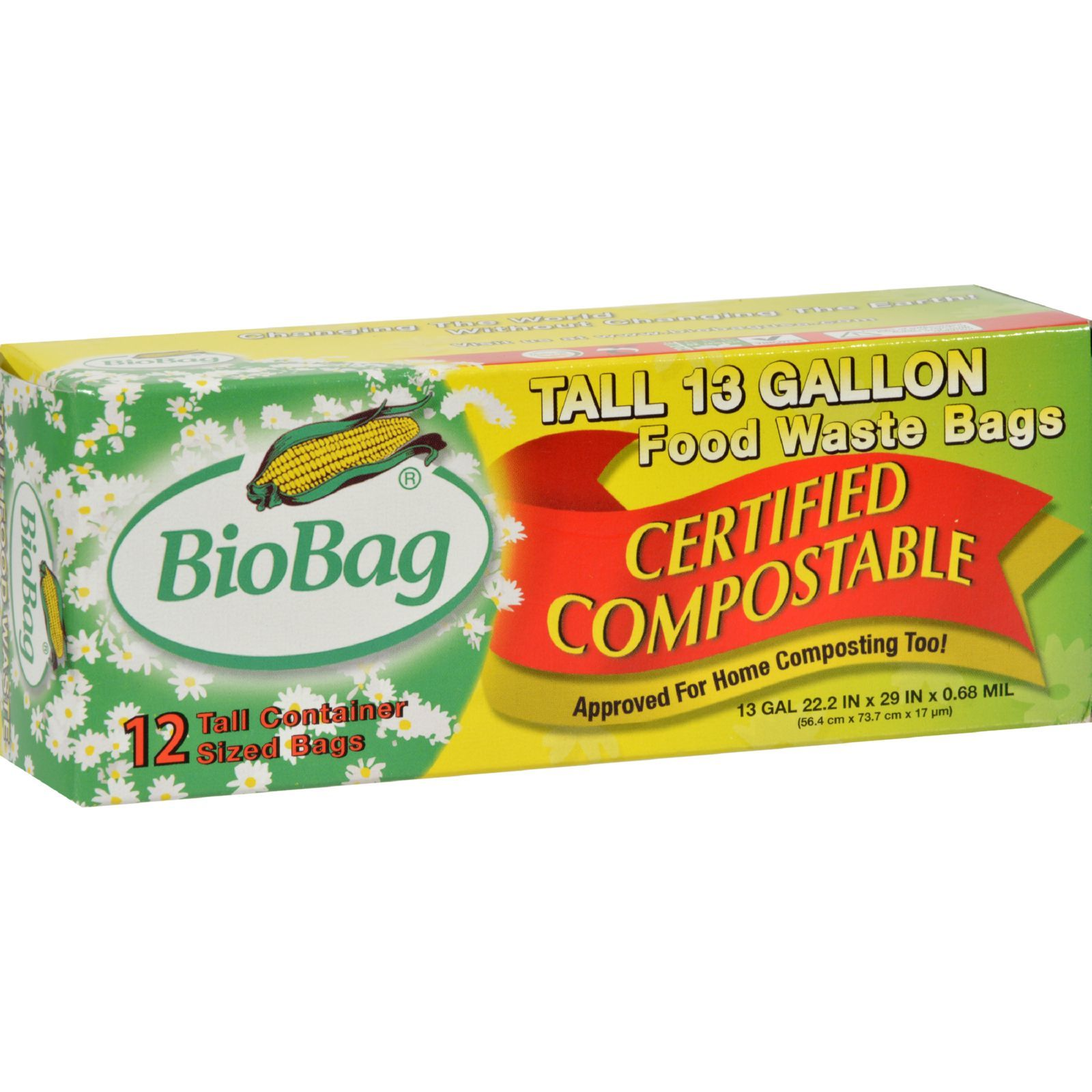 BioBag 13 Gallon Tall Food Waste Bags - Case of 12 - 12 Count