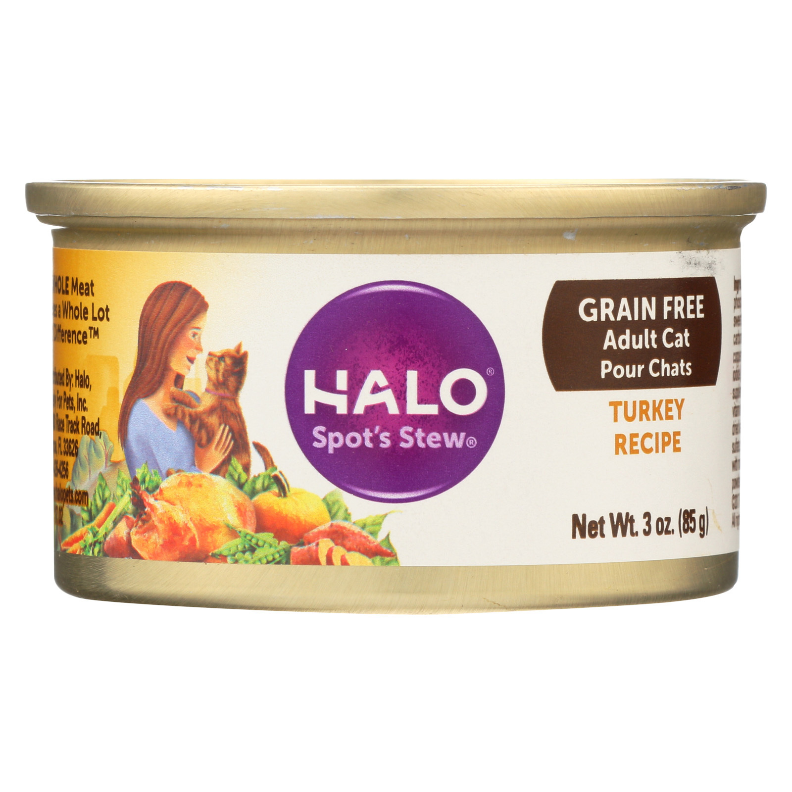 Halo Purely For Pets Spot's Stew For Cats - Wholesome Turkey Recipe - Case of 12 - 3 oz.