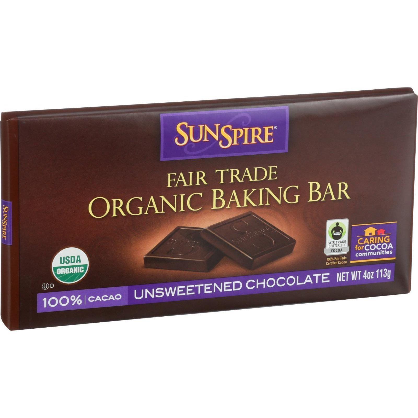 SunSpire Foods Baking Bar - Organic - Fair Trade - 100 Percent Cocoa - 4 oz Bars - Case of 12