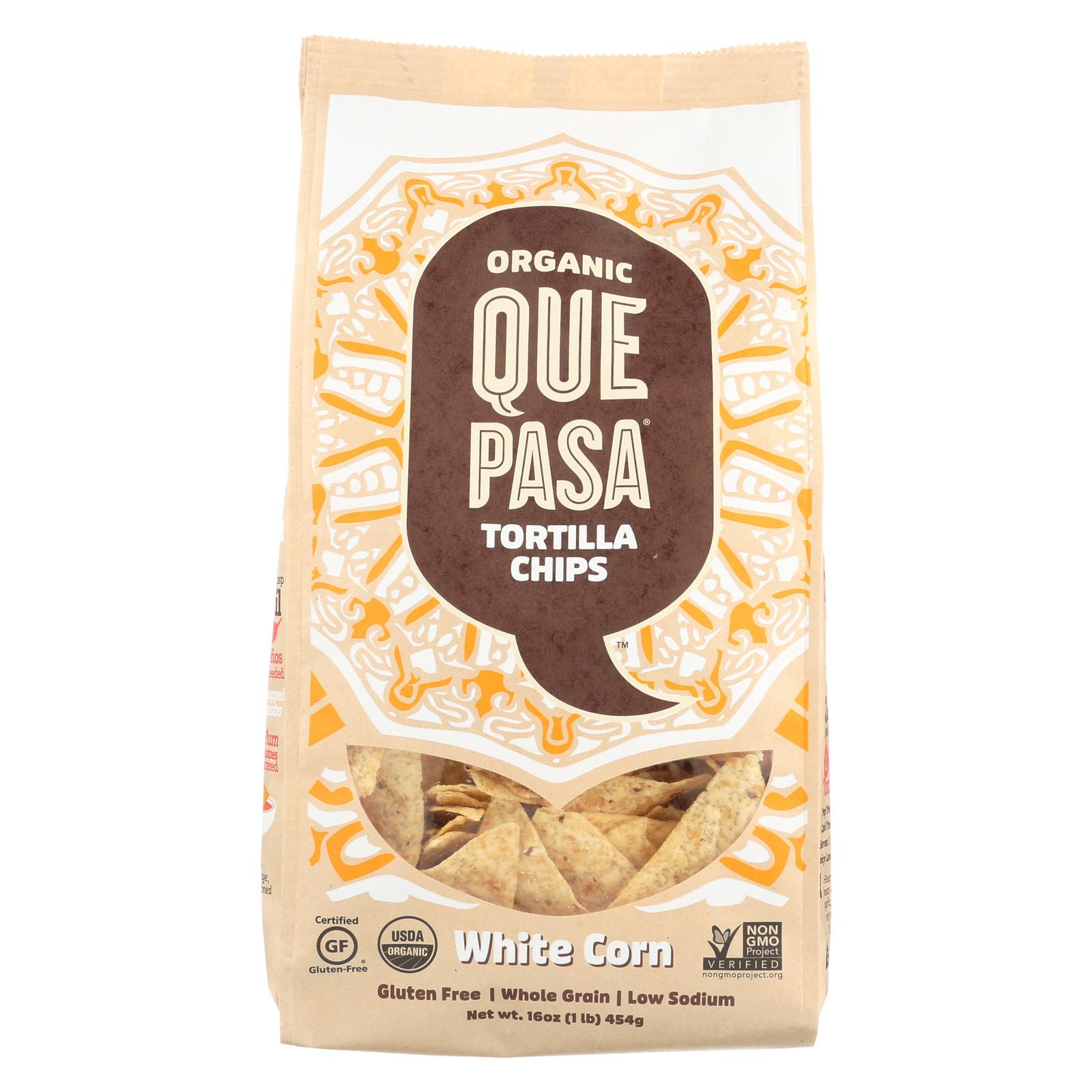 Que Pasa Tortilla Chips - White Corn - Case of 12 - 16 oz.