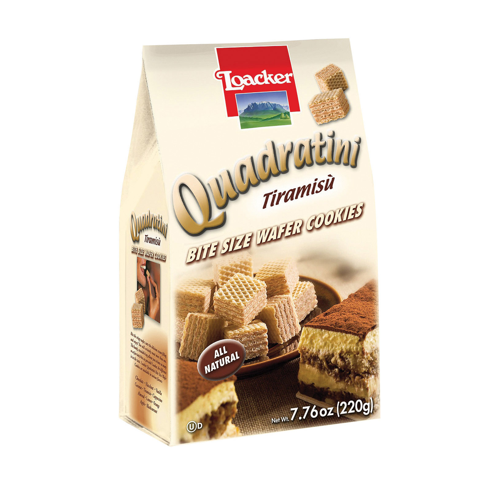 Loacker Quadratini Tiramisu Chocolate Bite Size Wafer Cookies - Case of 8 - 7.76 oz.