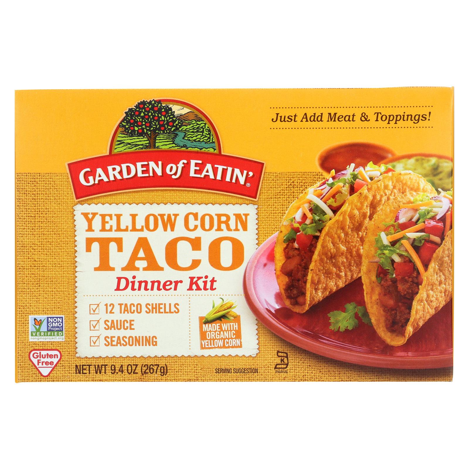 Garden of Eatin' Yellow Corn Taco Dinner Kit - Dinner Kit - Case of 12 - 9.4 oz.