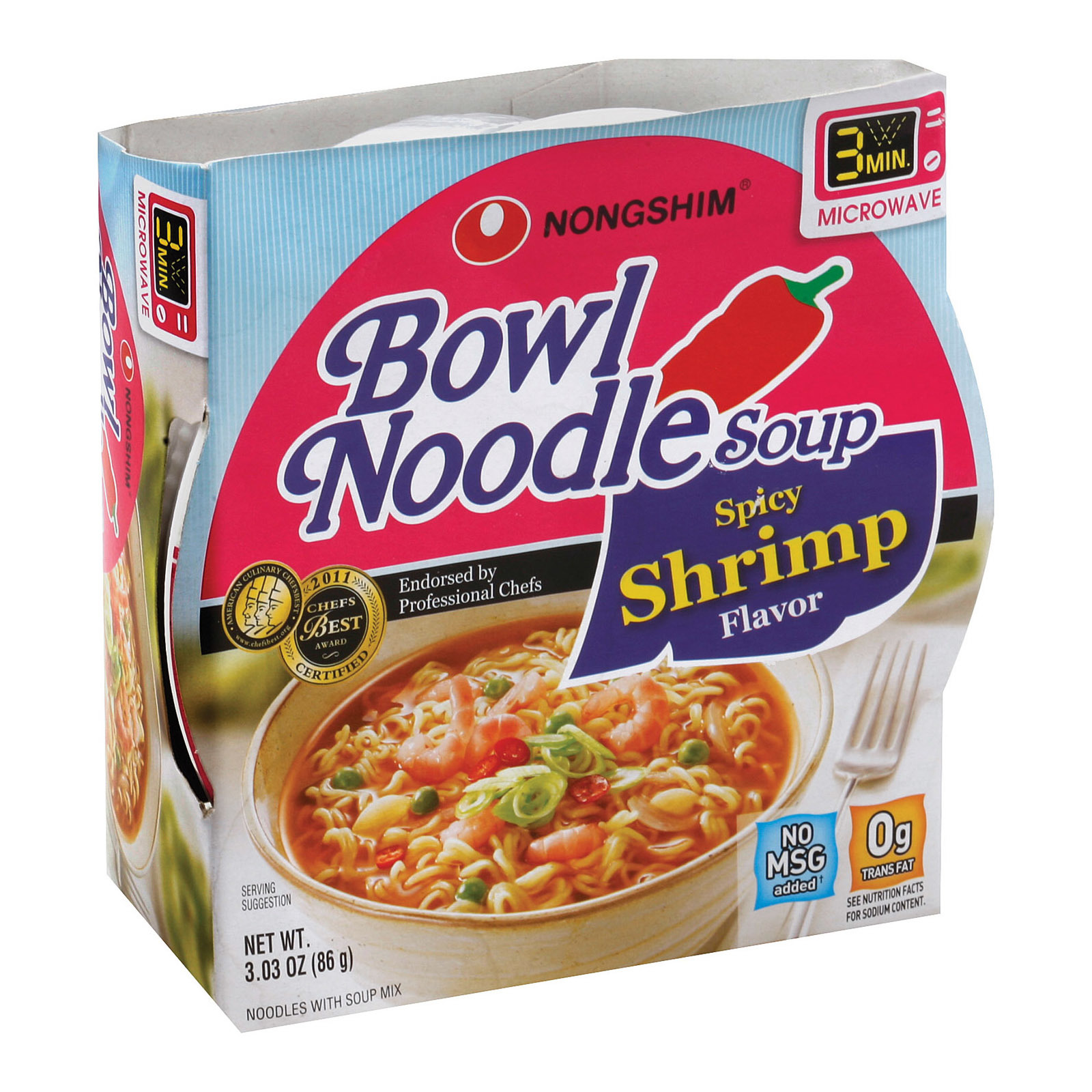 Nong Shim Spicy Shrimp Bowl - Noodle Soup - Case of 12 - 3.03 oz.