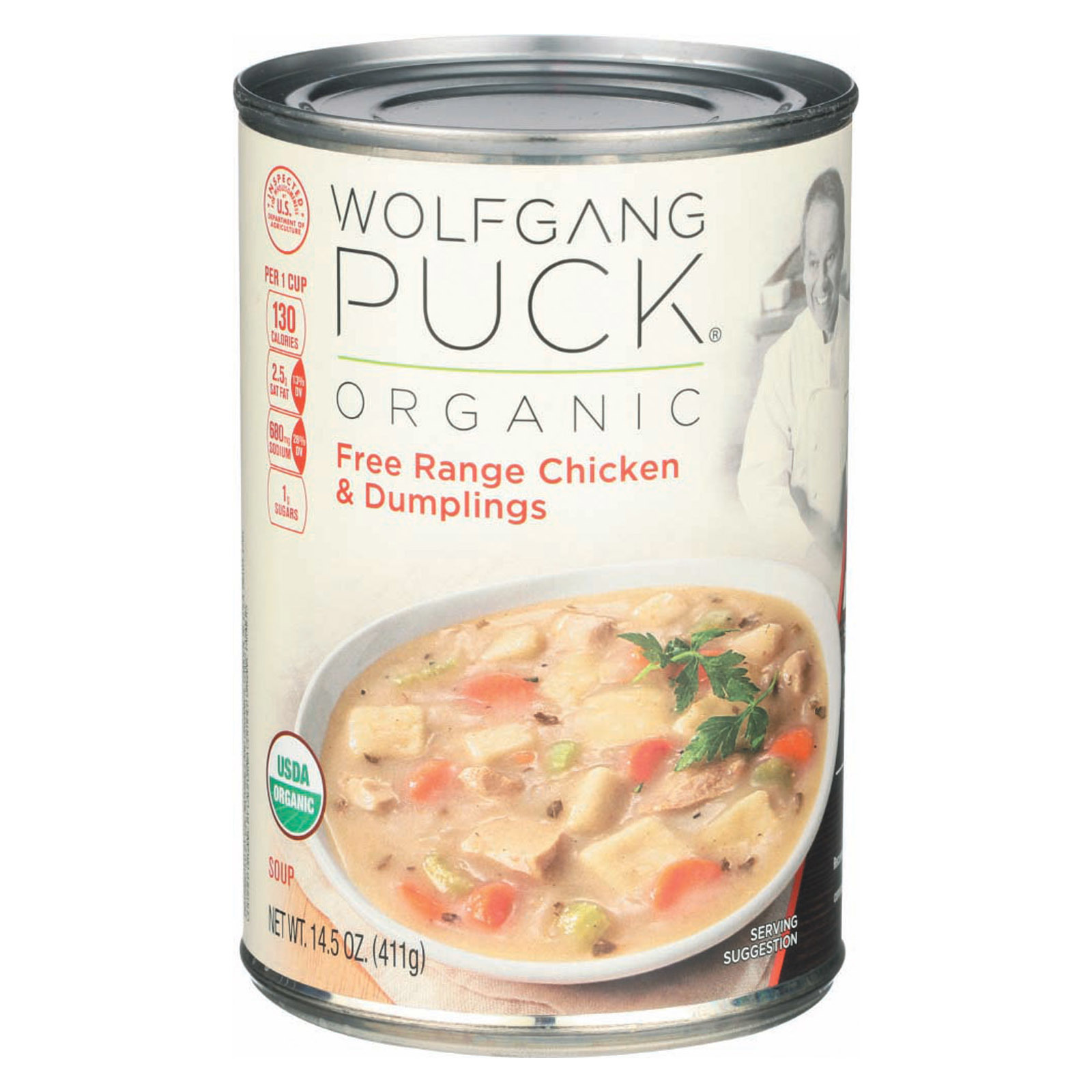 Wolfgang Puck Organic Chicken and Dumplings Soup - Case of 12 - 14.5 oz.
