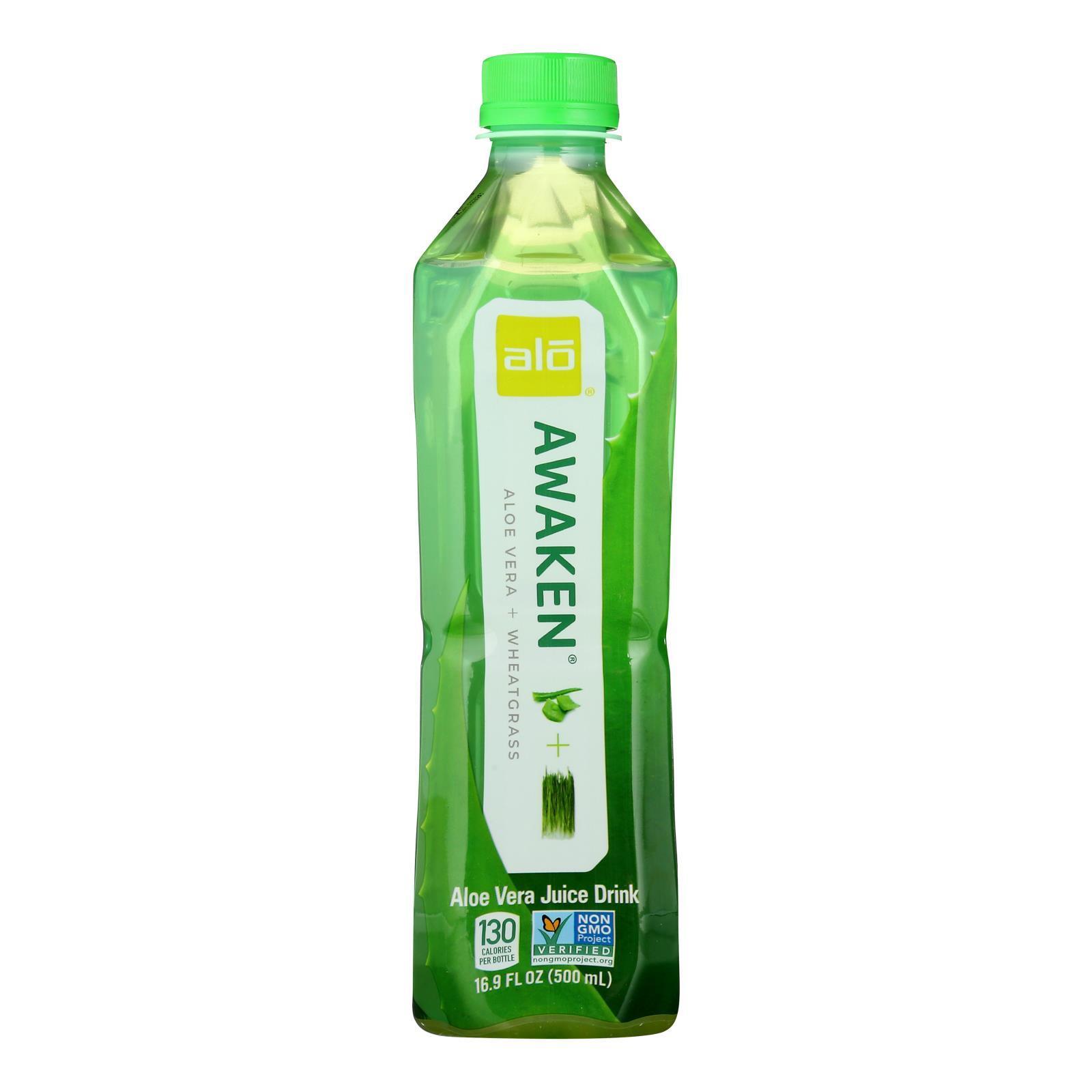 Alo Original Awaken Aloe Vera Juice Drink  - Wheatgrass - Case of 12 - 16.9 fl oz.