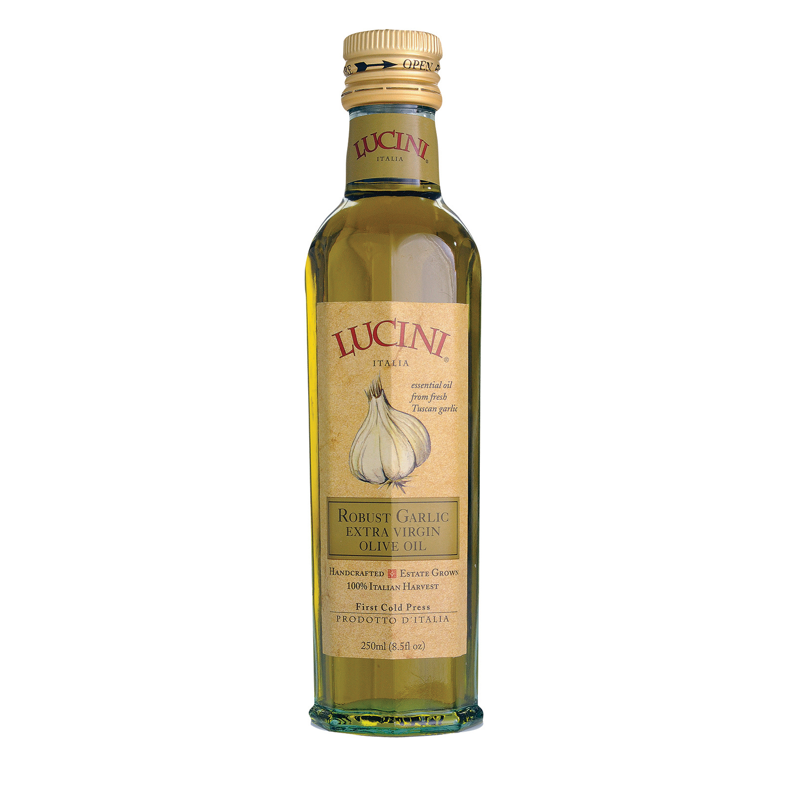 Lucini Italia Robust Garlic Extra Virgin Olive Oil - Case of 6 - 8.5 Fl oz.